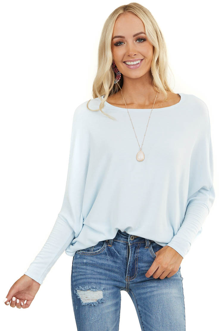 Baby Blue Round Neck Top with Long Dolman Sleeves