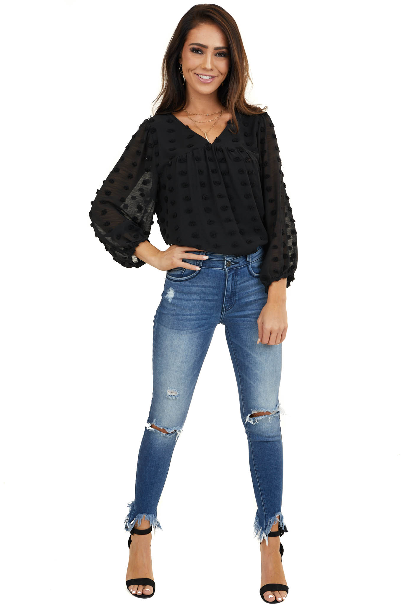 Black Swiss Dot Babydoll Top with Long Bubble Sleeves