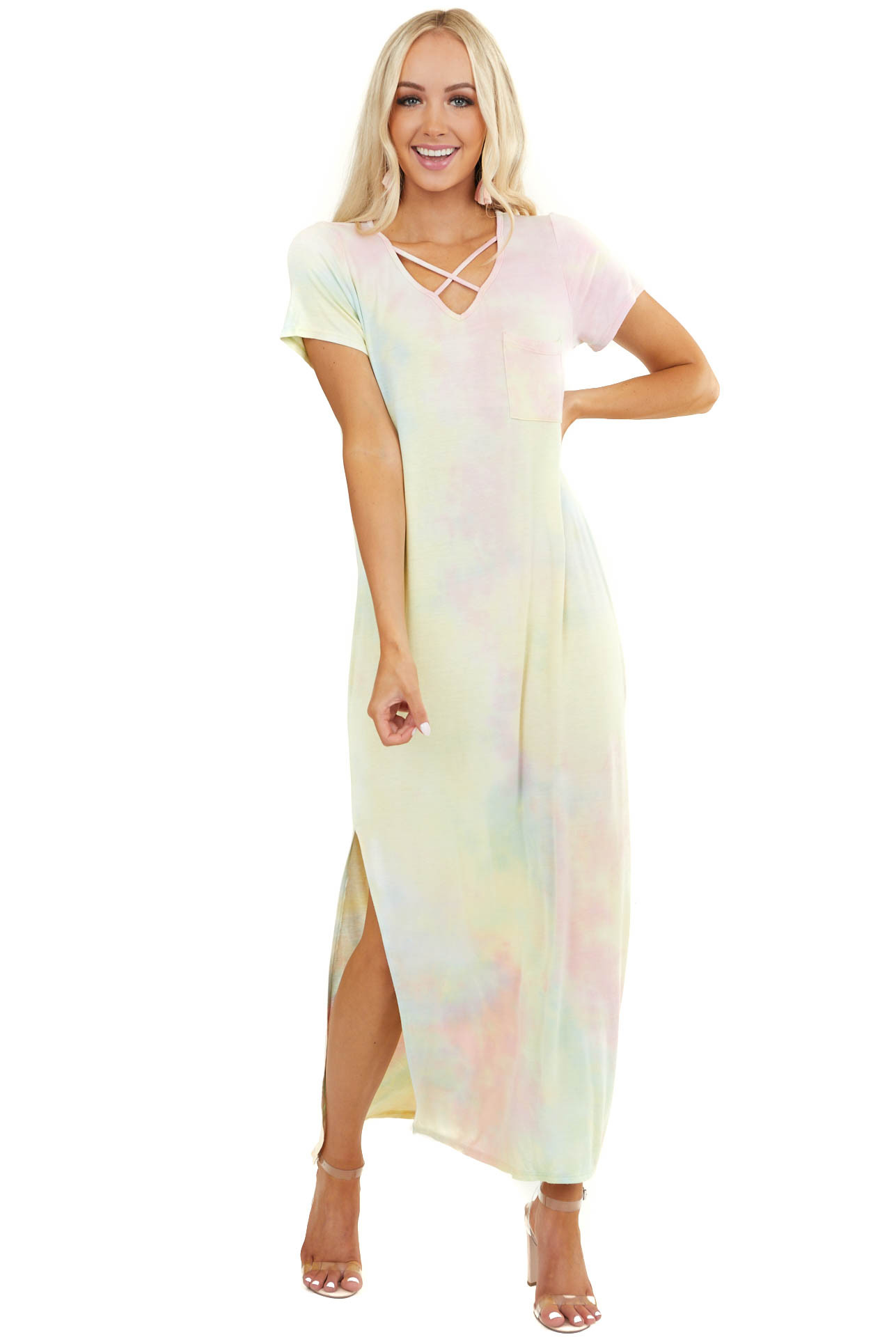 Pale Rainbow Tie Dye Maxi Dress with Criss Cross V Neck