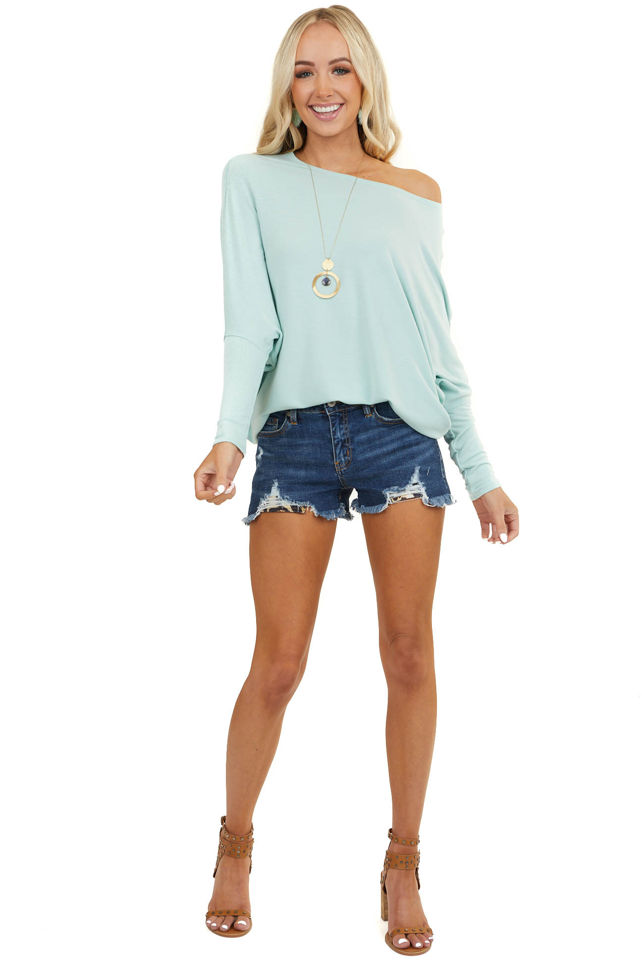 Mint Round Neck Top with Long Dolman Sleeves