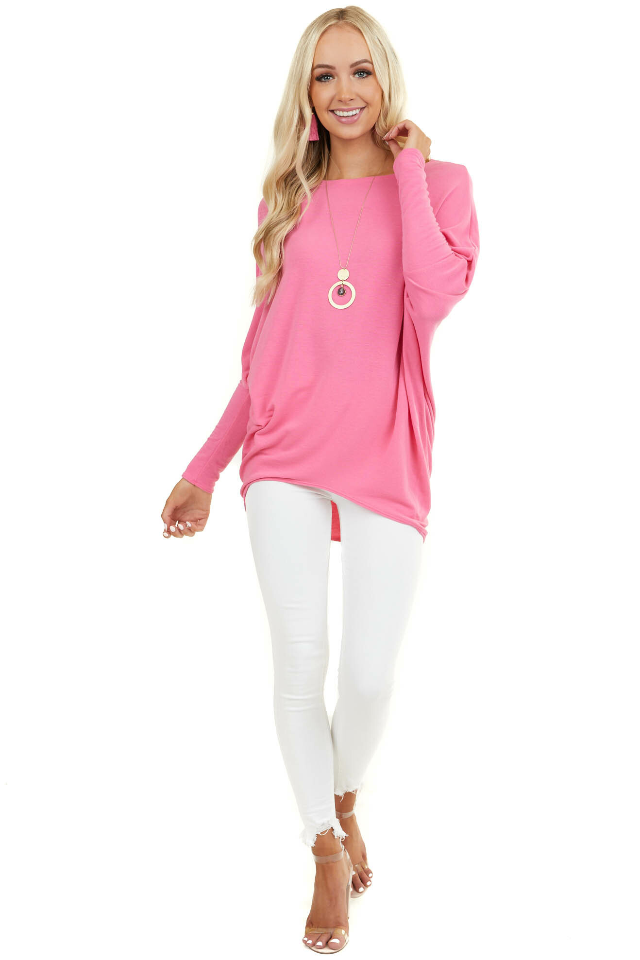 Dark Pink Round Neck Top with Long Dolman Sleeves