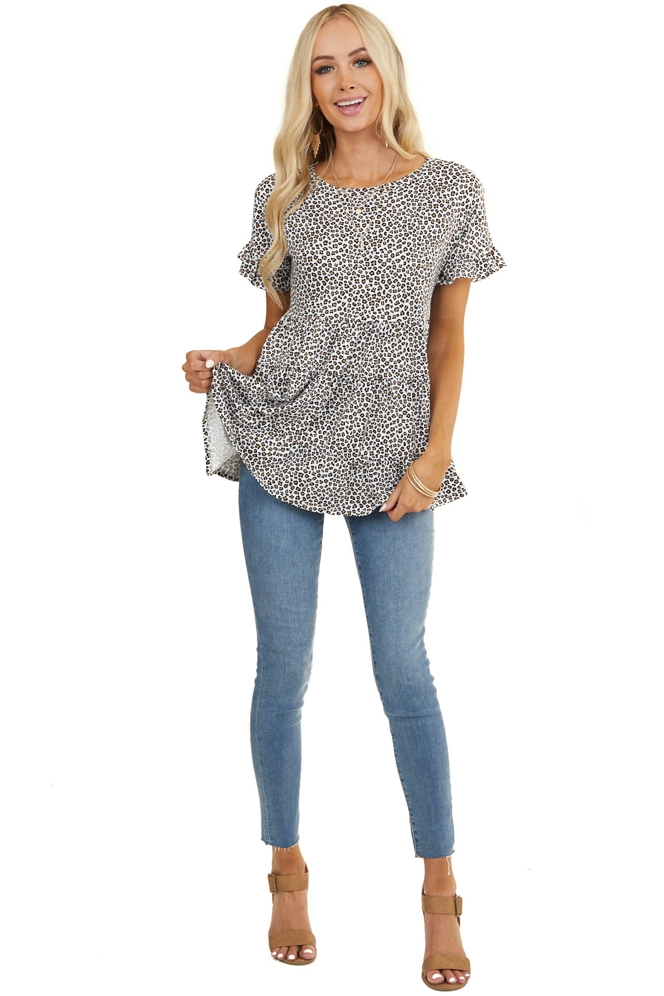 Ivory and Beige Leopard Print Tiered Top with Short Sleeves