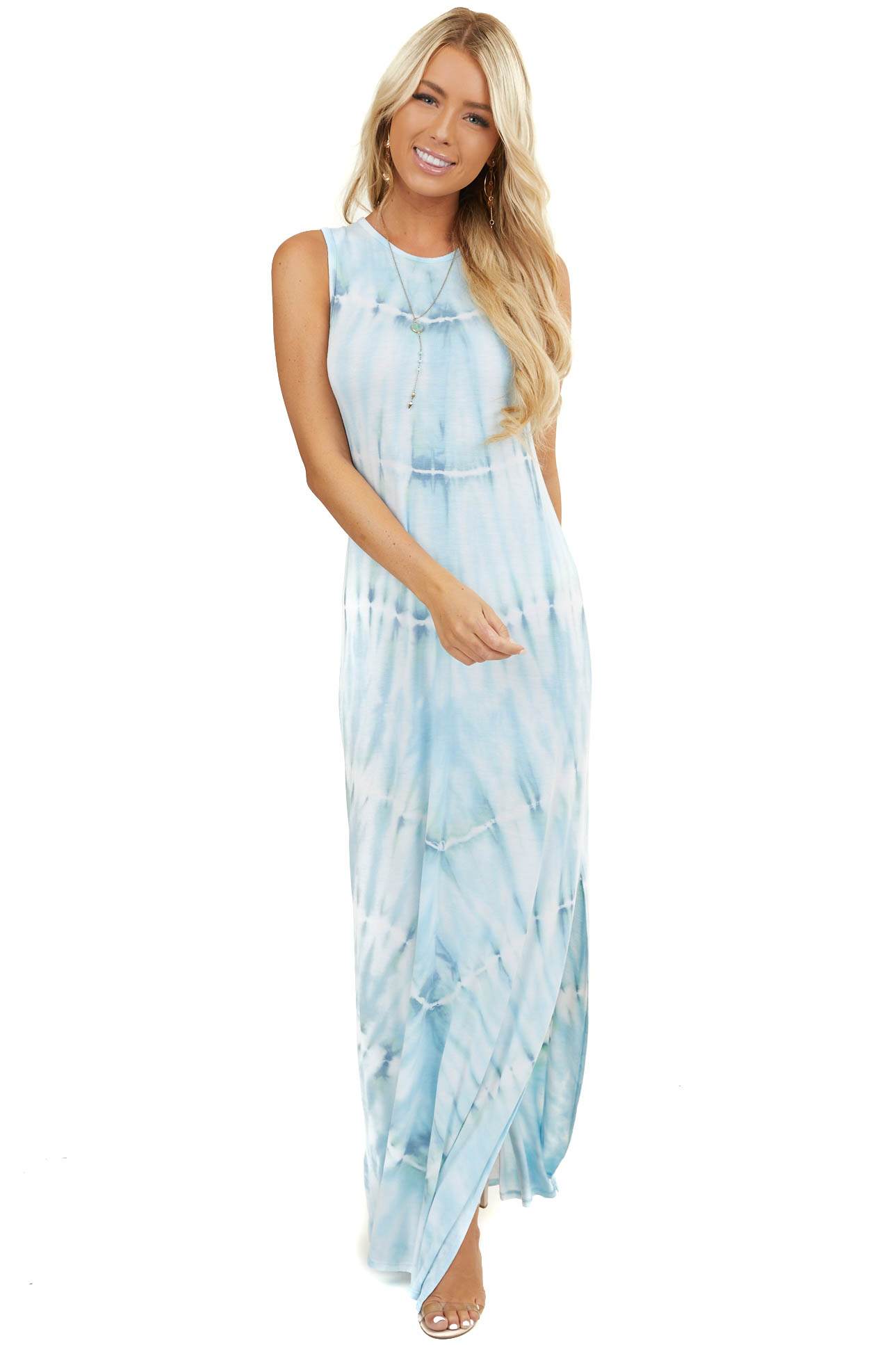 Light Blue Tie Dye Sleeveless Maxi Dress with Side Slits