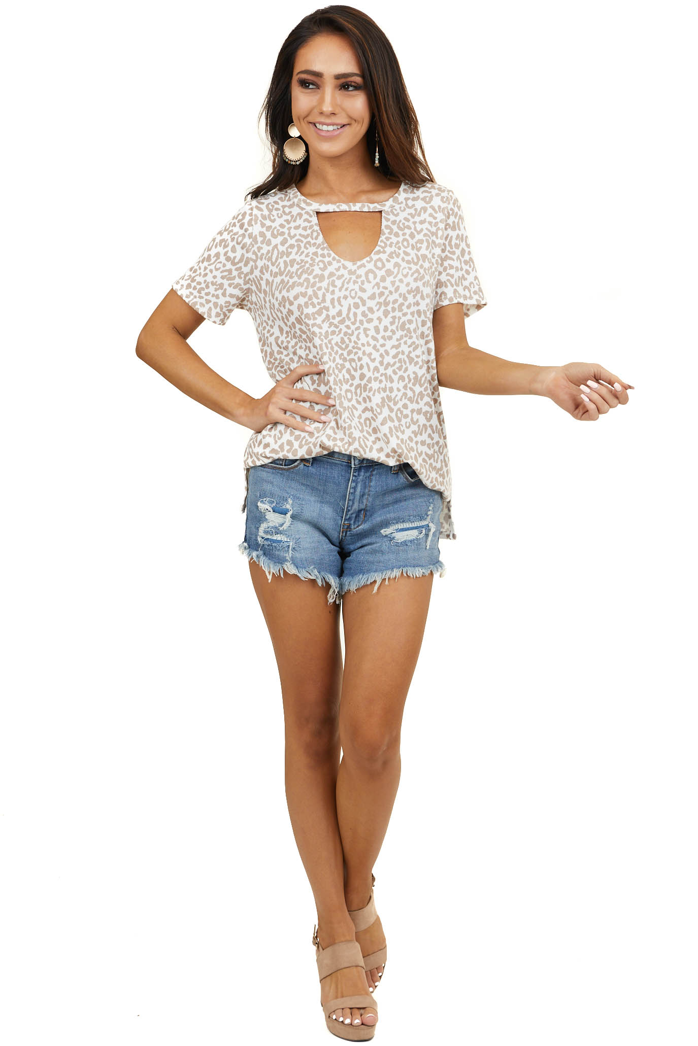 Ivory and Latte Leopard Print Top with Cutout Detail