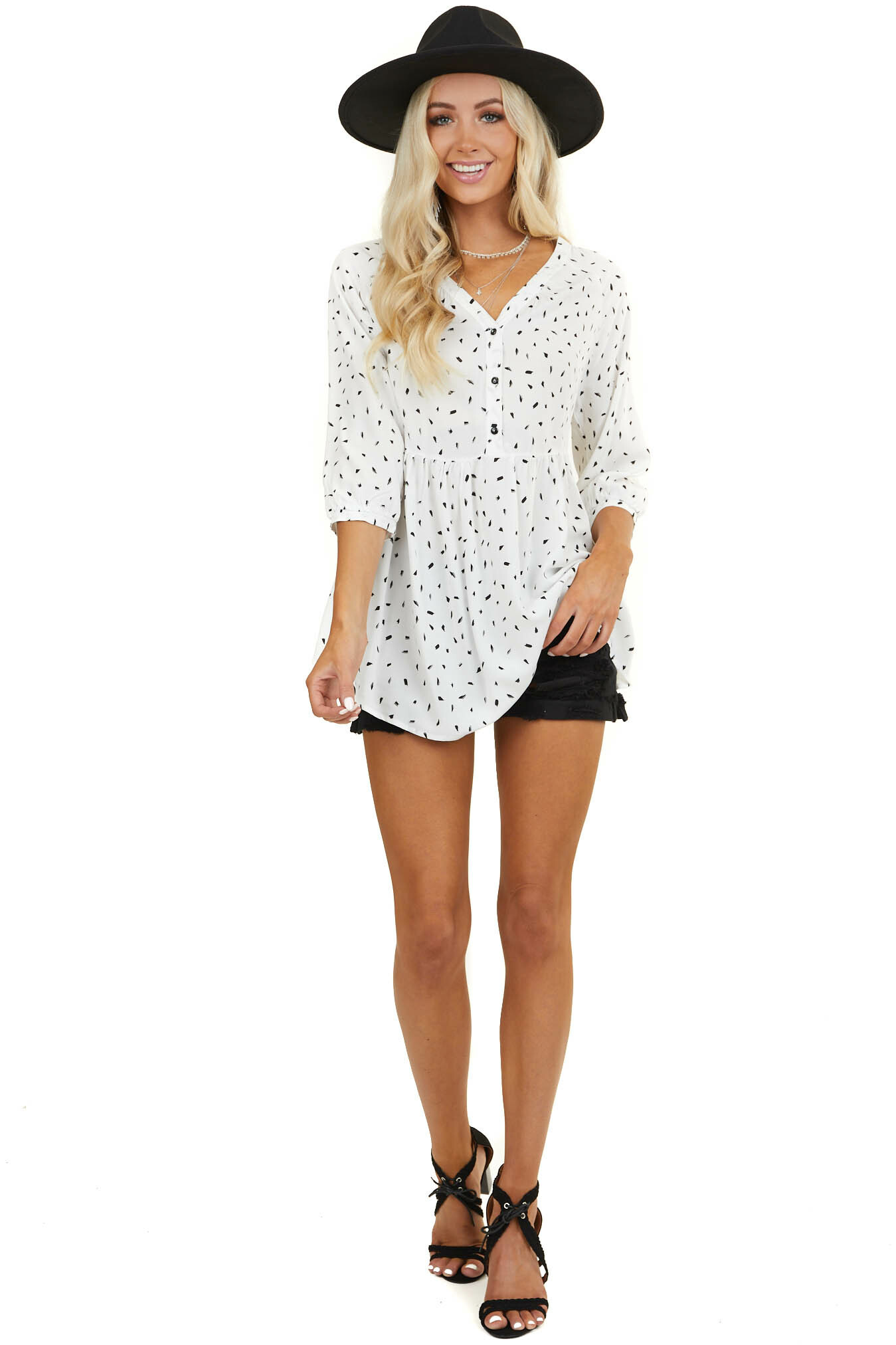 White Abstract Print Drop Waist Woven Top with 3/4 Sleeves