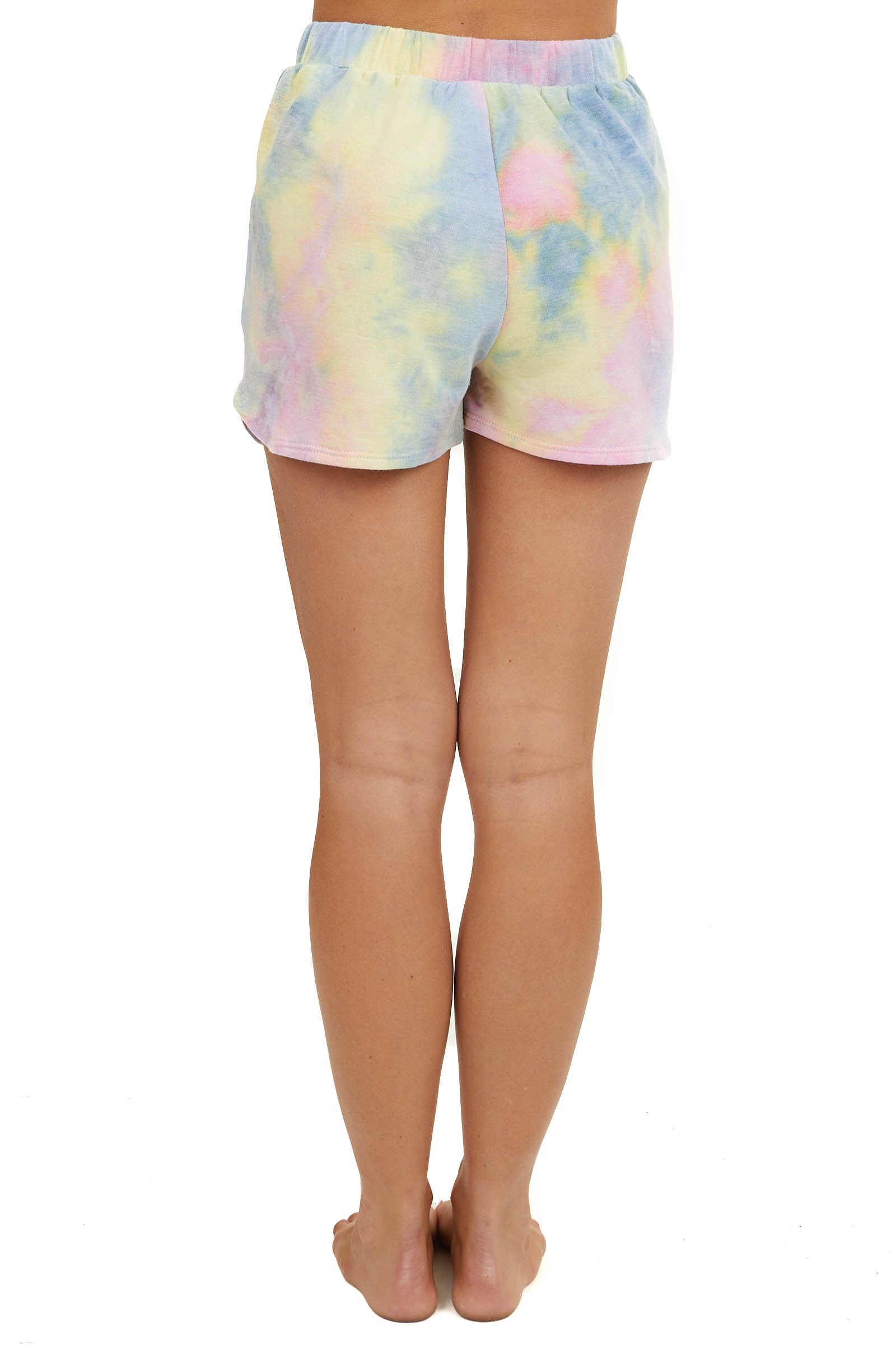 Dusty Multicolor Tie Dye Drawstring Shorts with Pockets