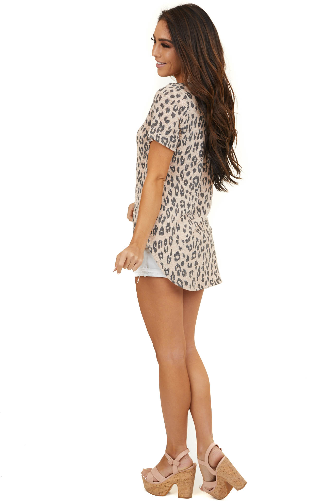 Light Apricot and Charcoal Leopard Print Short Sleeve Top