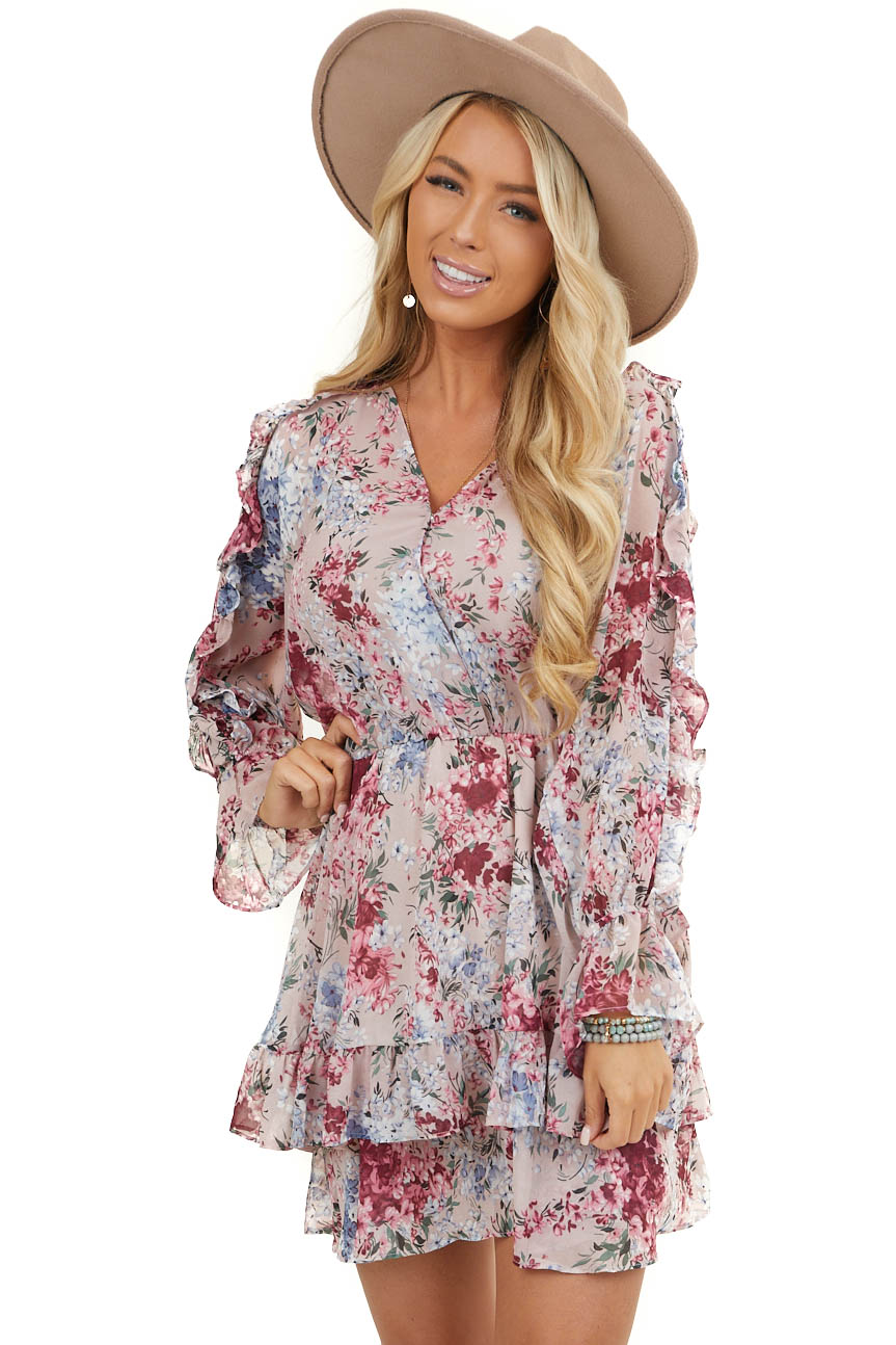 Dusty Mauve Floral Surplice Dress with Ruffle Details