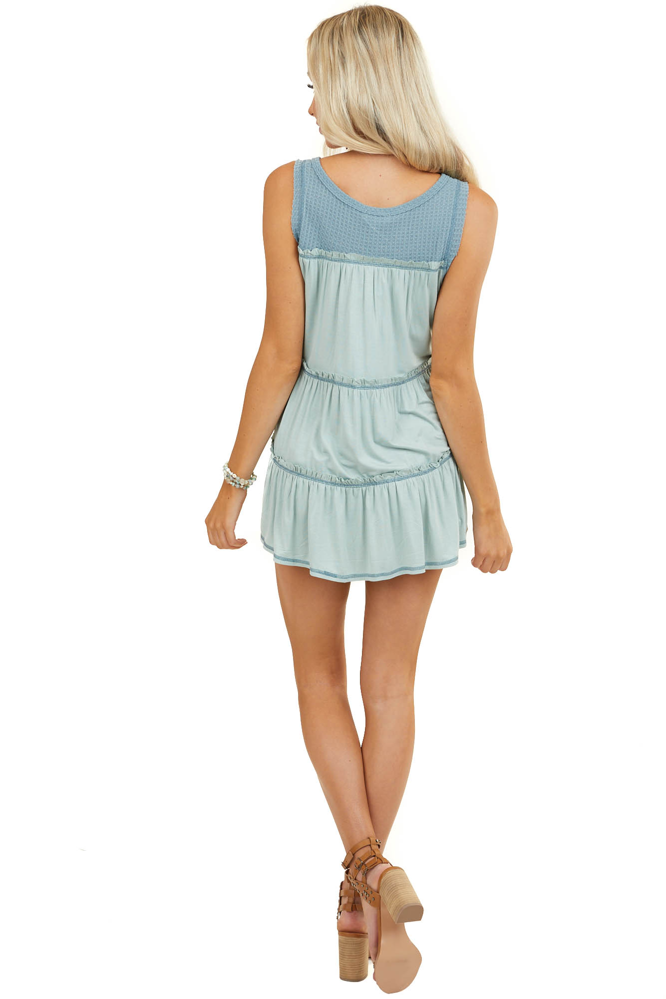 Teal and Sage Waffle Knit Tank Top with Back Contrast Detail