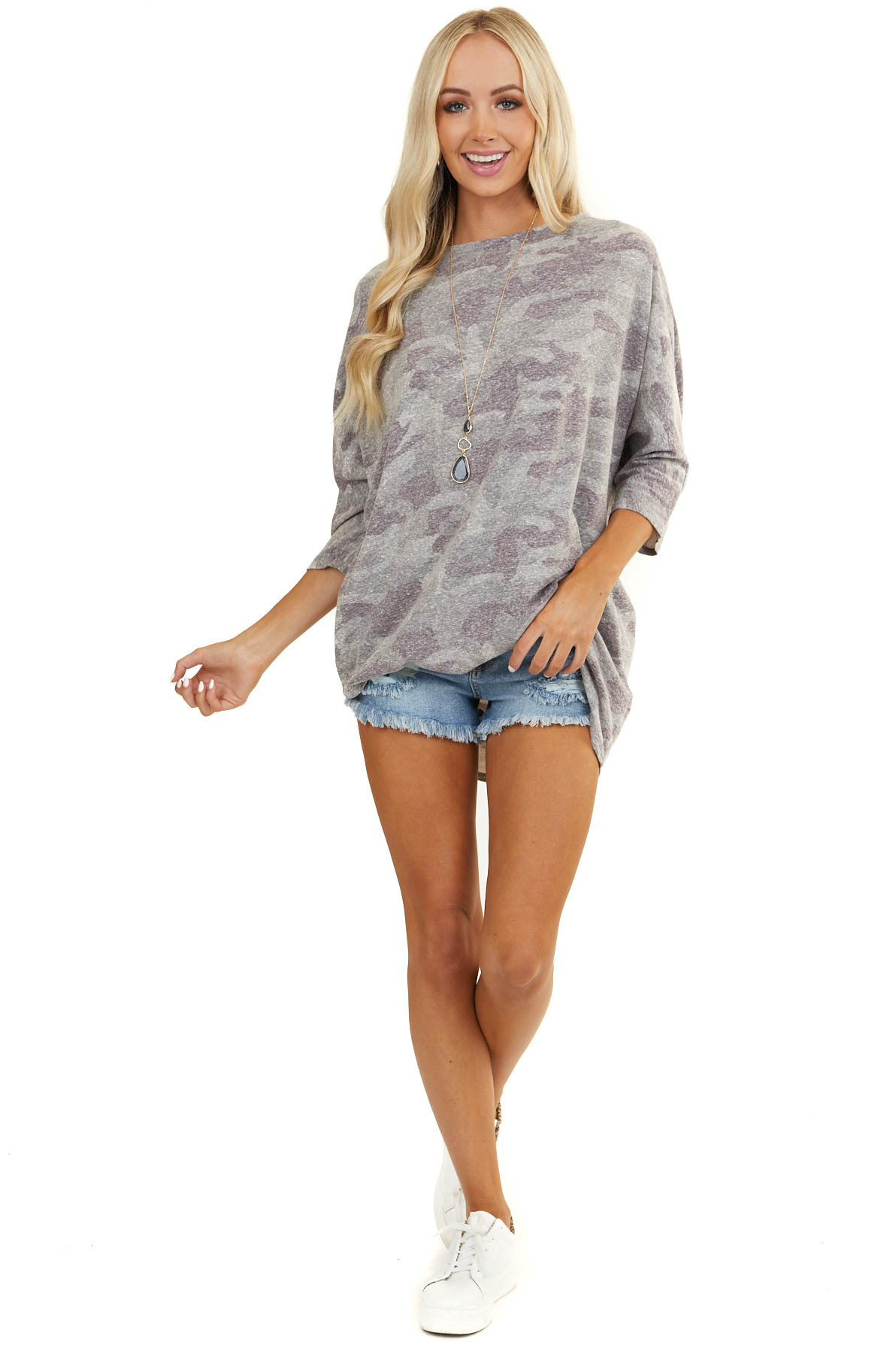 Heathered Olive Camo Print Top with 3/4 Length Sleeves