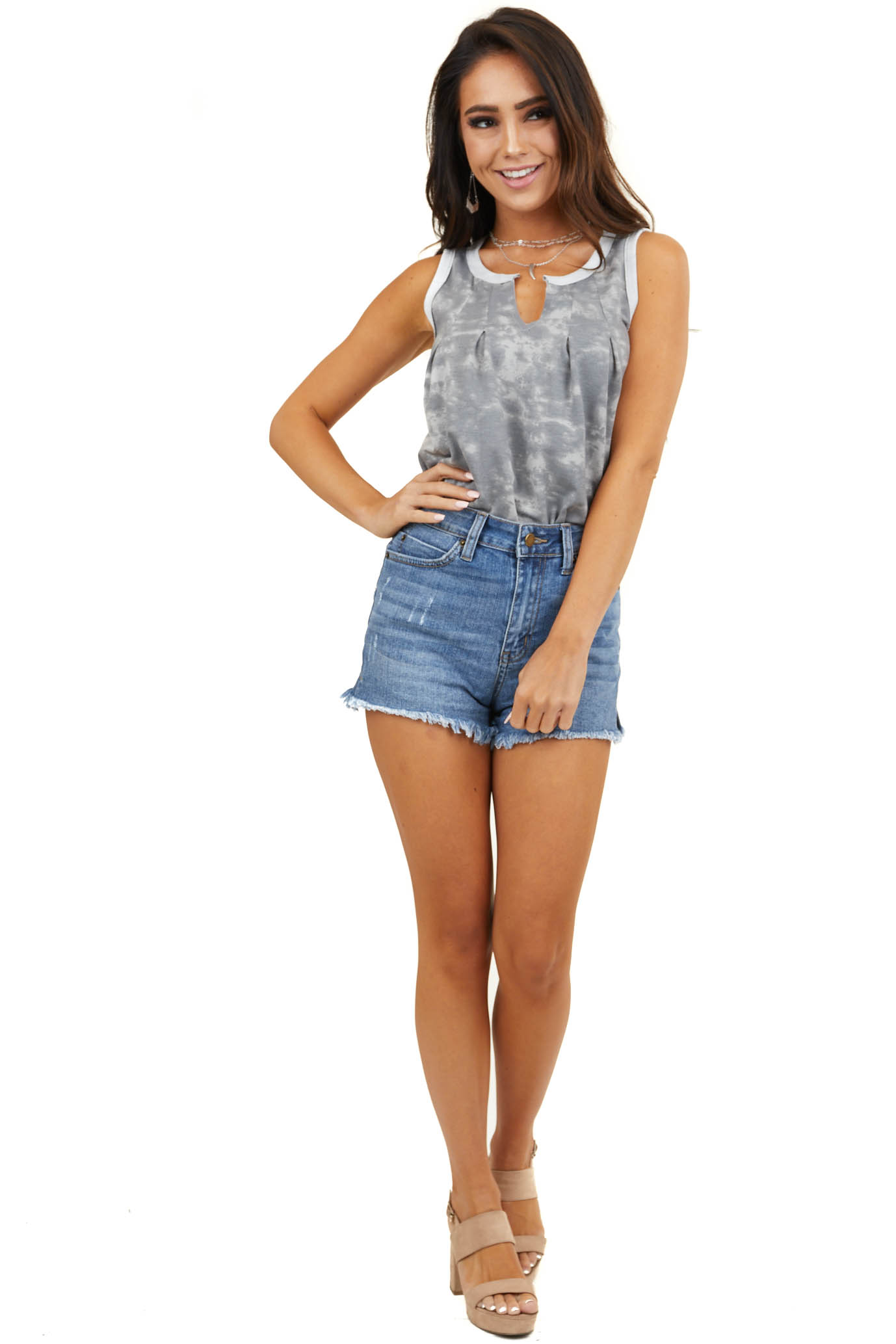 Stone Grey Tie Dye V Neck Tank Top with Pleat Details