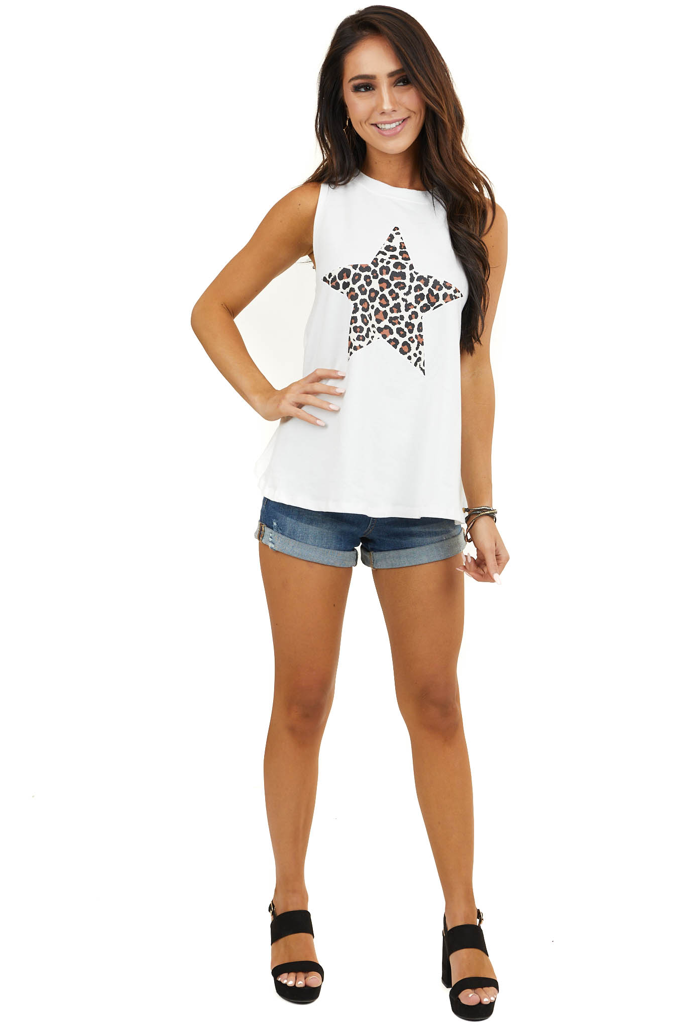Off White Tank Top with Leopard Print Star Graphic