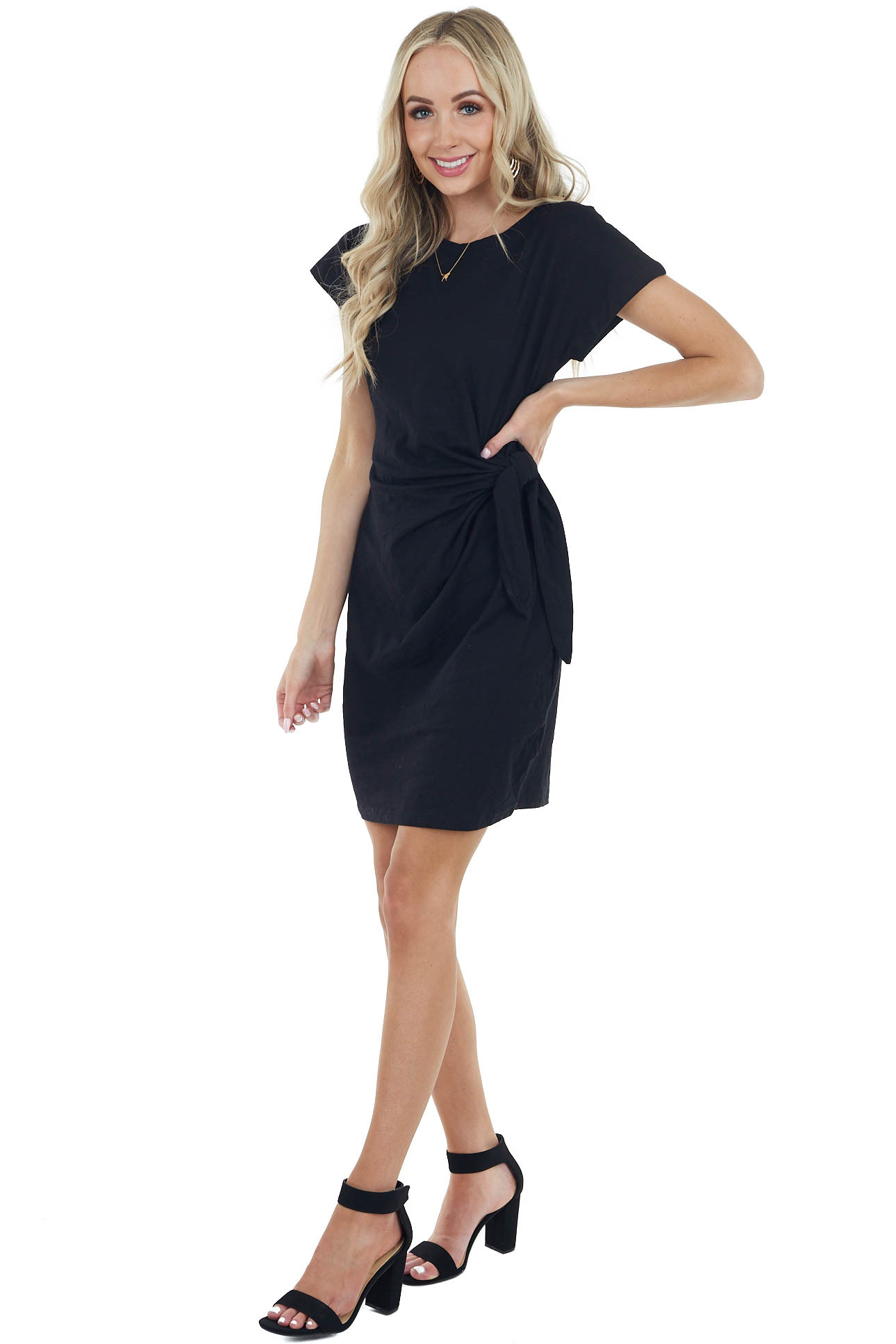 Black Short Sleeve Knit Dress With Side Tie Detail