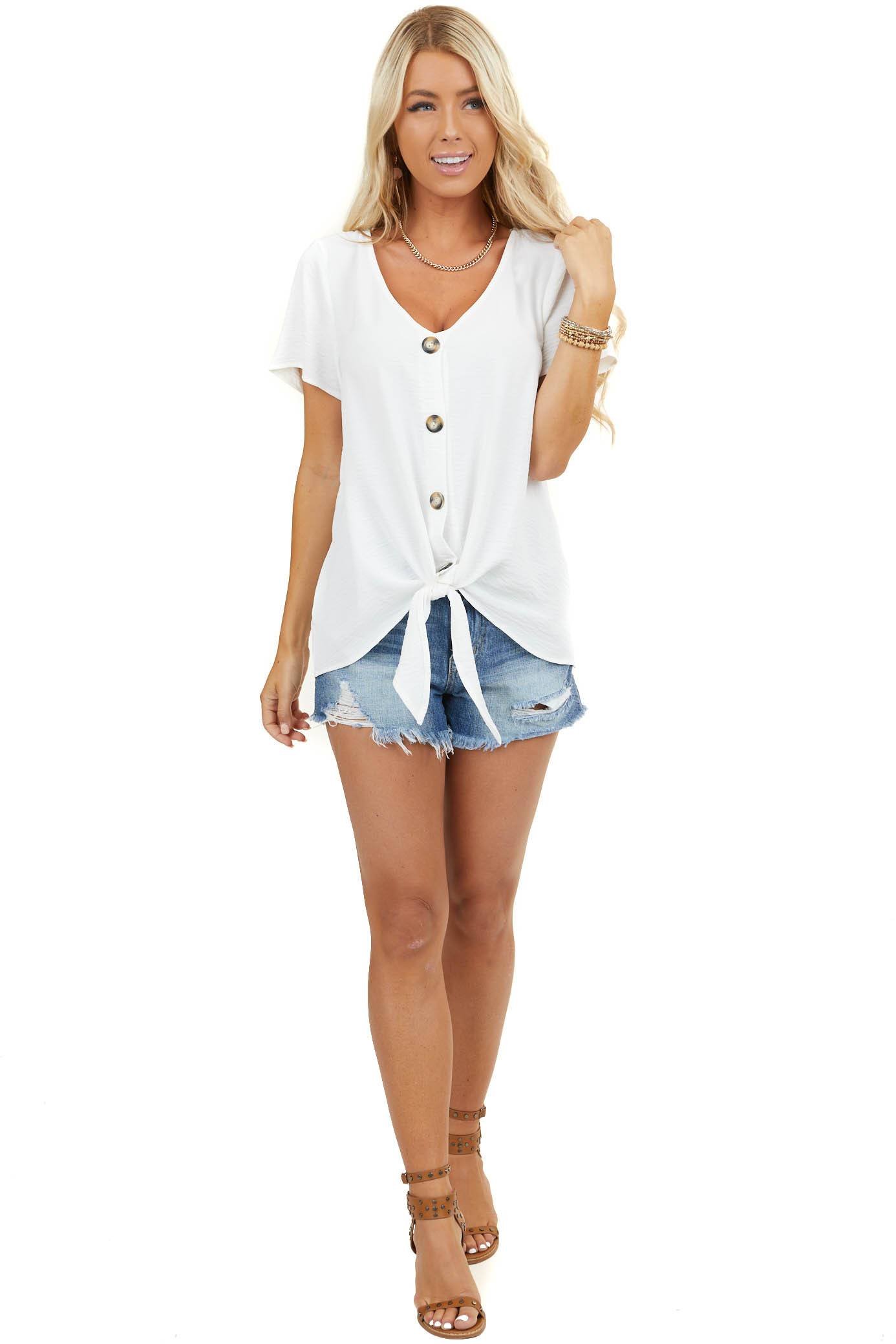 White Button Up Woven Top with Front Tie Detail