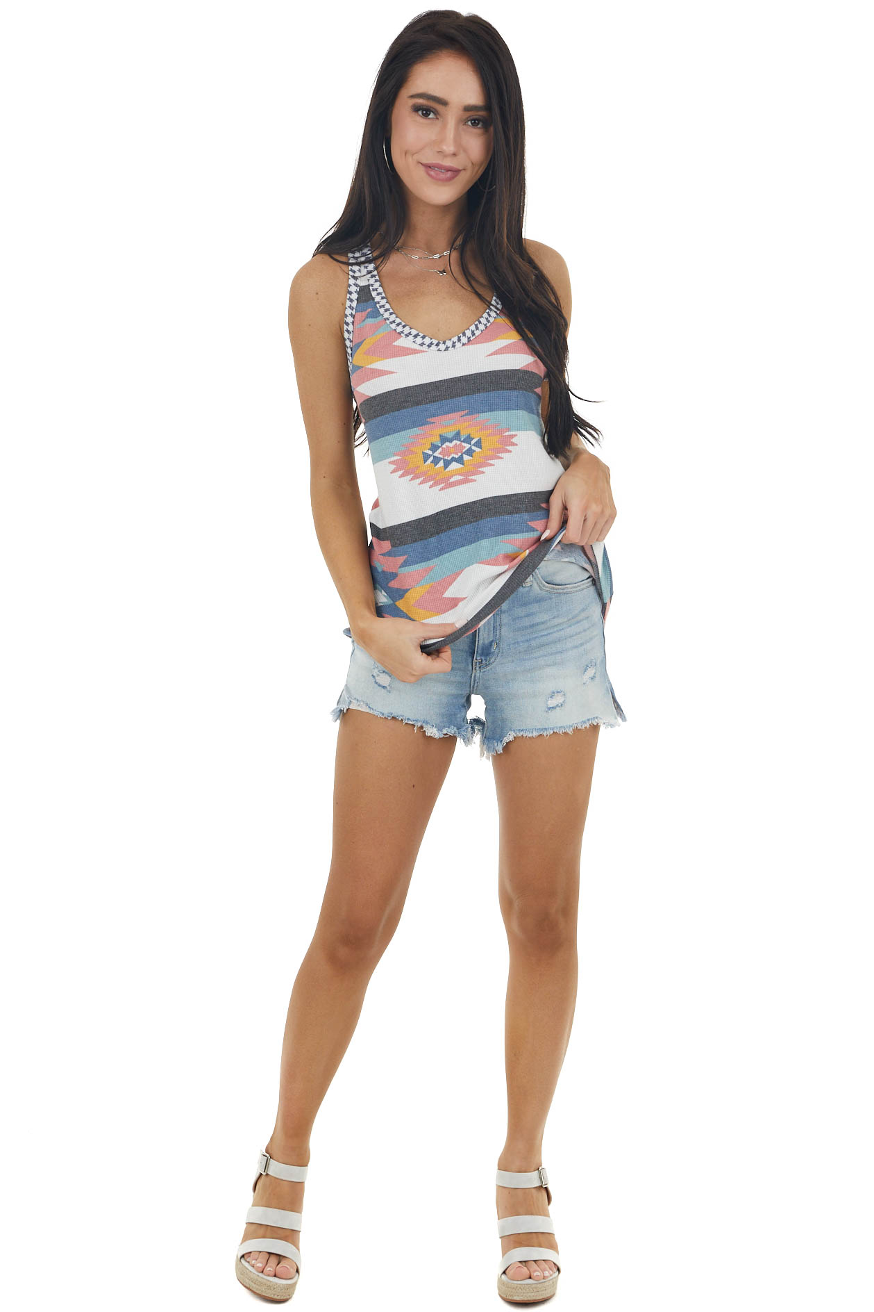 Multicolor Aztec Print Waffle Knit Tank Top with Racerback