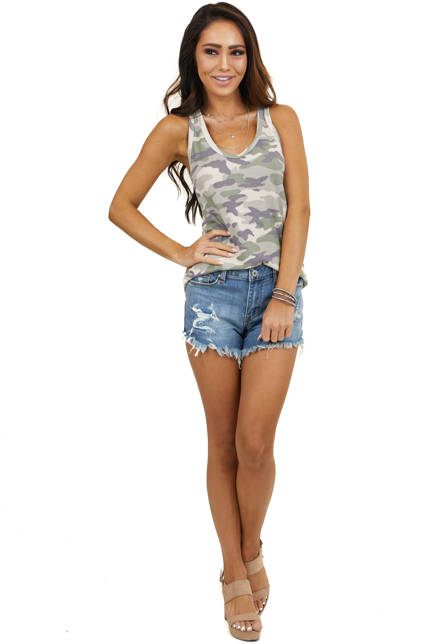 Olive Camo Waffle Knit Racerback Tank Top with Round V Neck