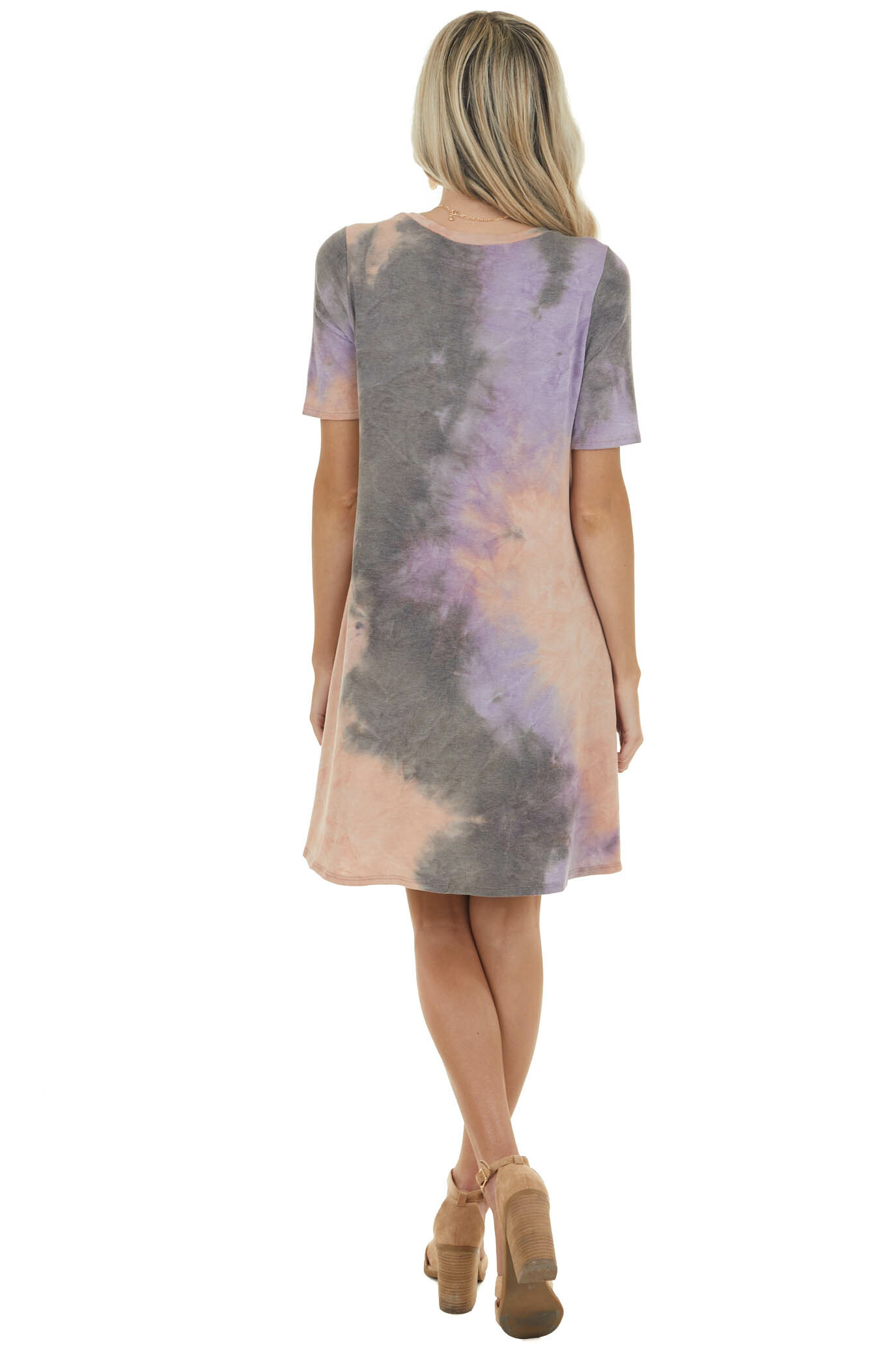 Peach and Lavender Tie Dye Dress with Side Pockets