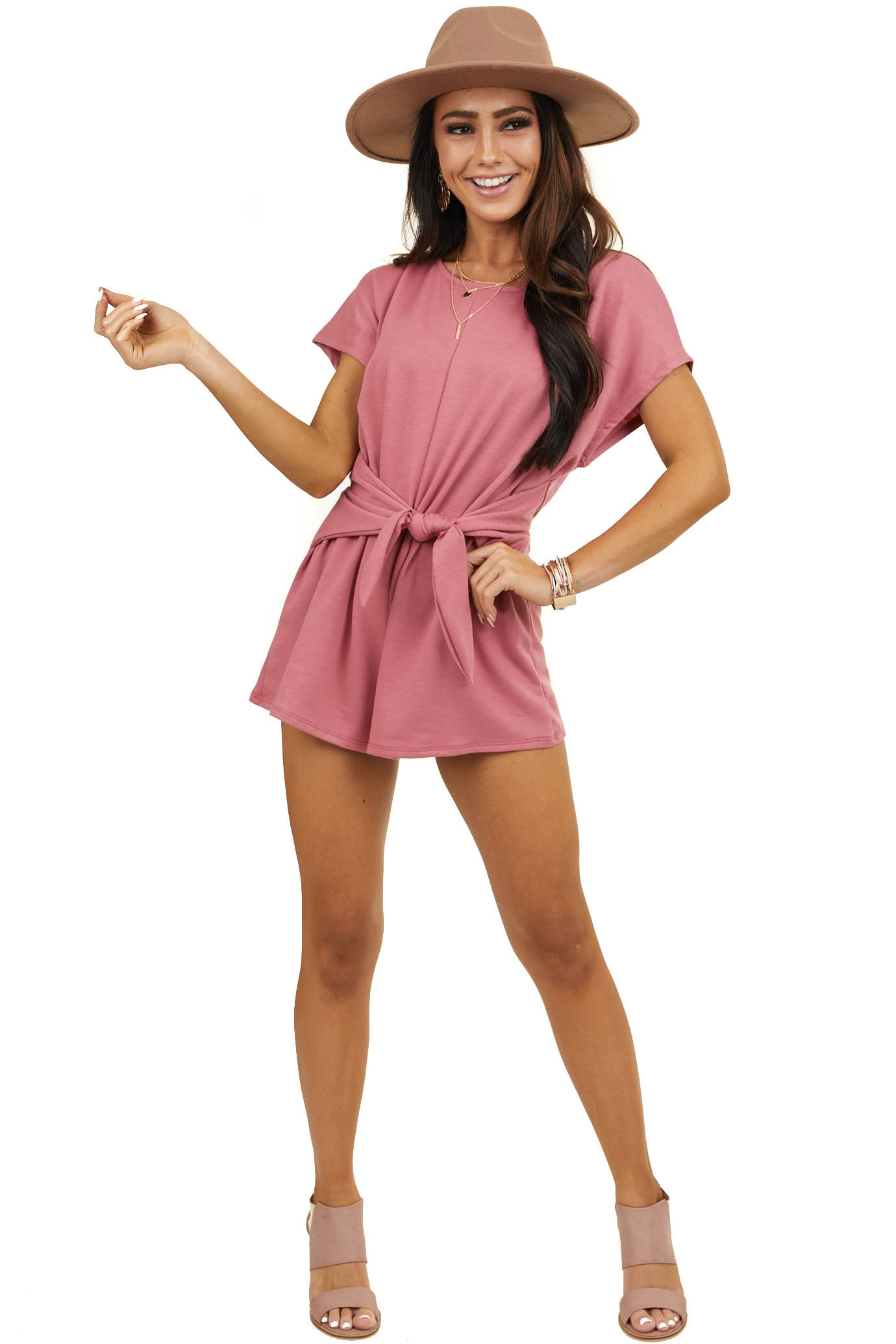 Dark Rose Super Soft Romper with Waist Tie and Open Back
