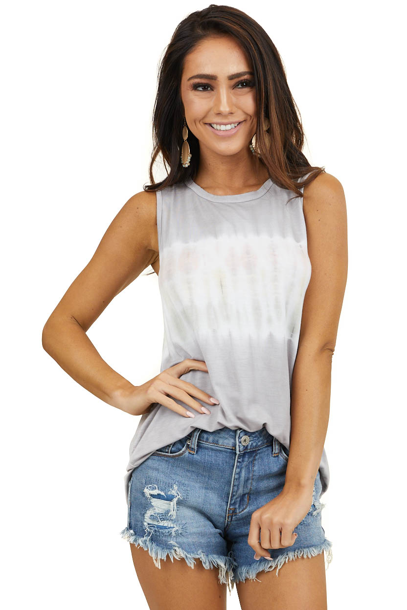 Heather Grey Tie Dye Super Soft Sleeveless Relaxed Fit Top