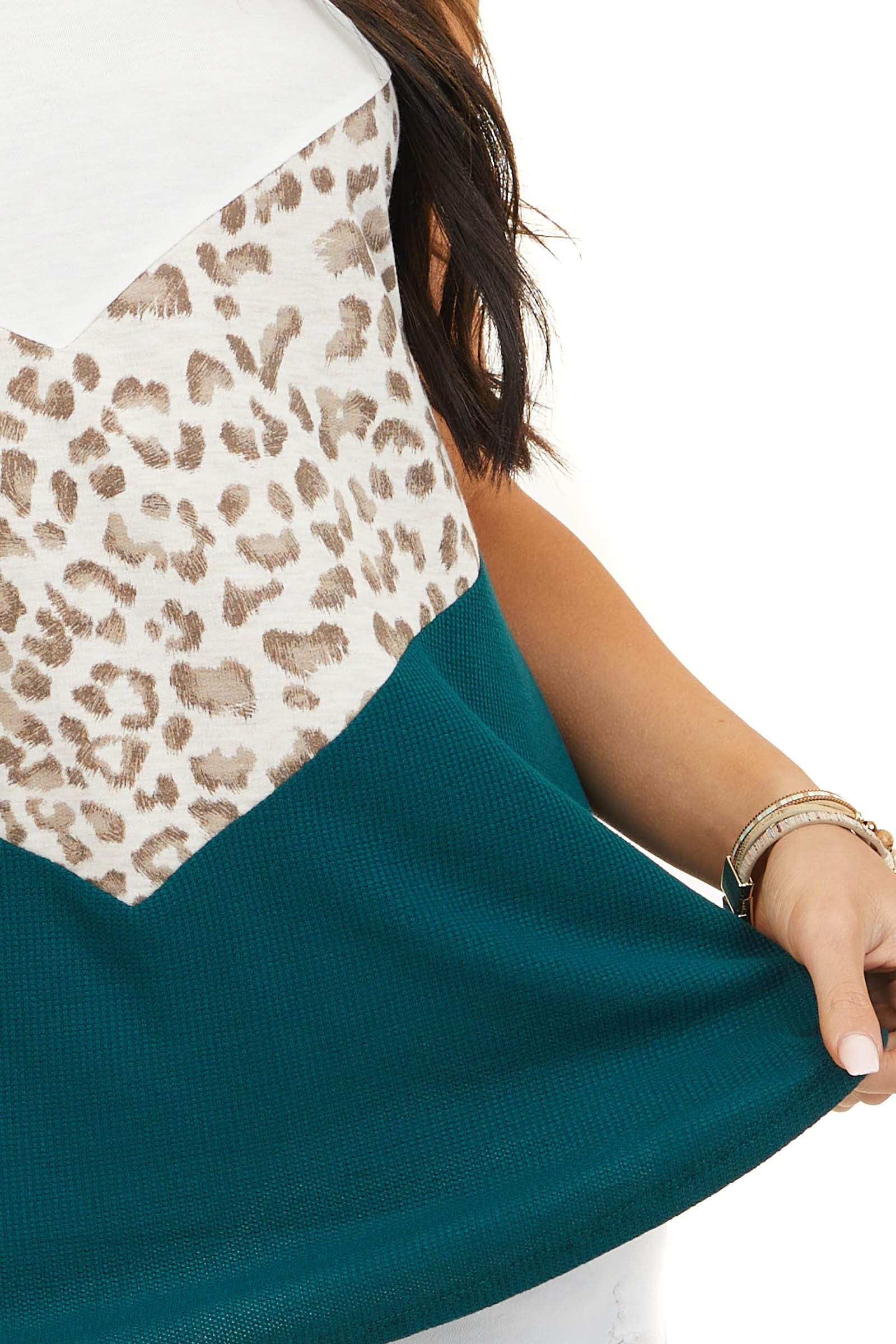 Ivory and Leopard Print Color Block Halter Tank Top