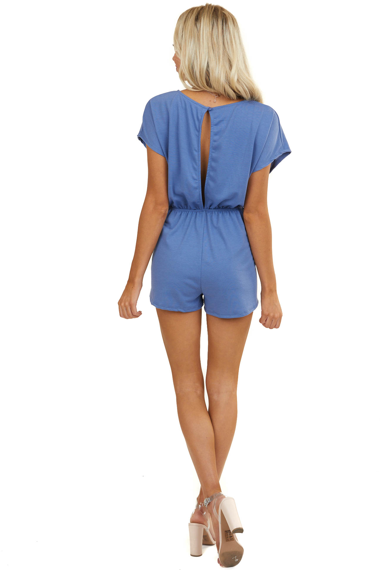 Dusty Blue Super Soft Romper with Waist Tie and Open Back