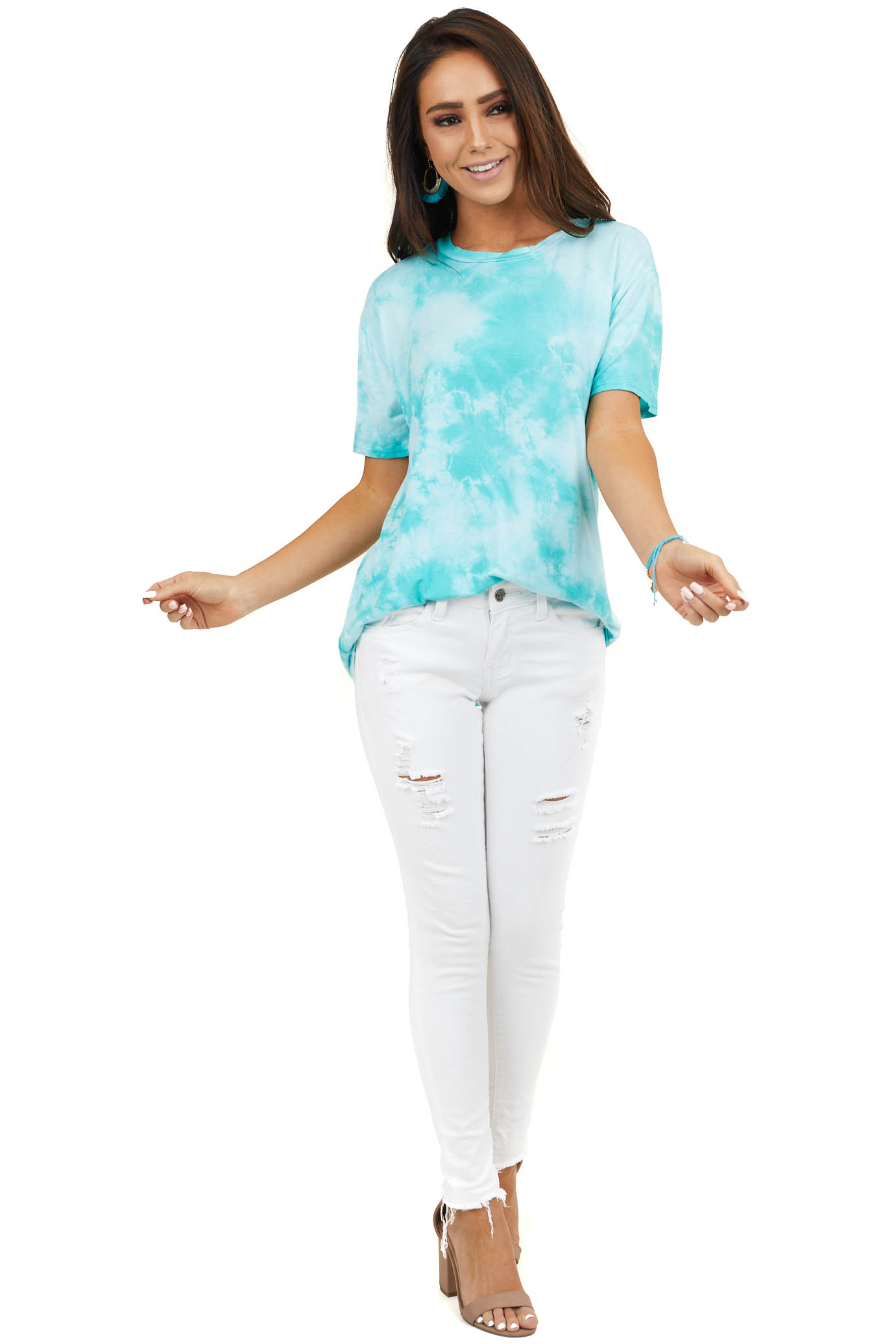 Turquoise Tie Dye Short Sleeve Top with Rounded Neckline