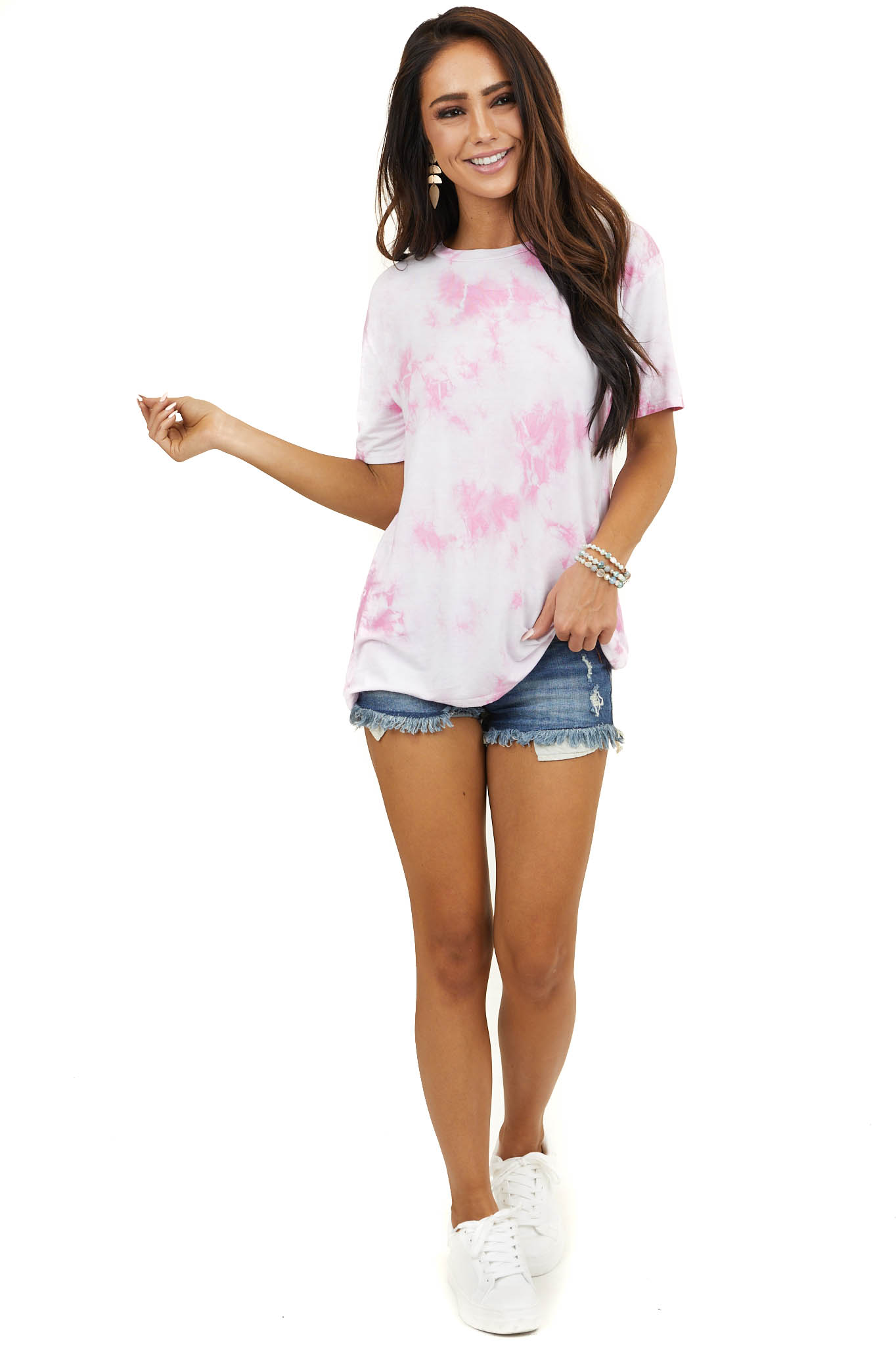 Pale Pink Tie Dye Short Sleeve Top with Rounded Neckline