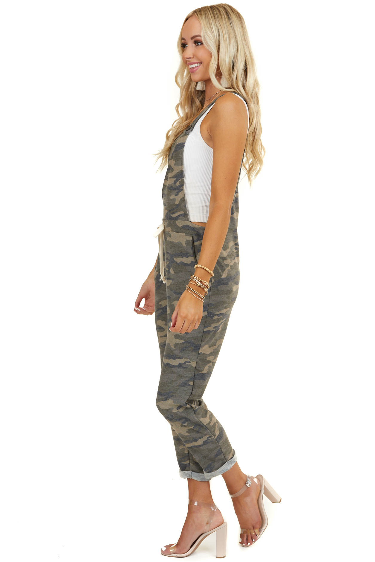 Olive Green Camo Overalls with Drawstring Waist and Pockets