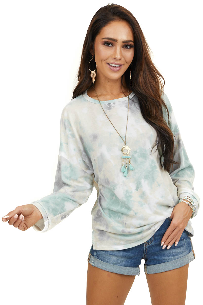 Dusty Mint Multicolor Long Sleeve Top with Rounded Neckline