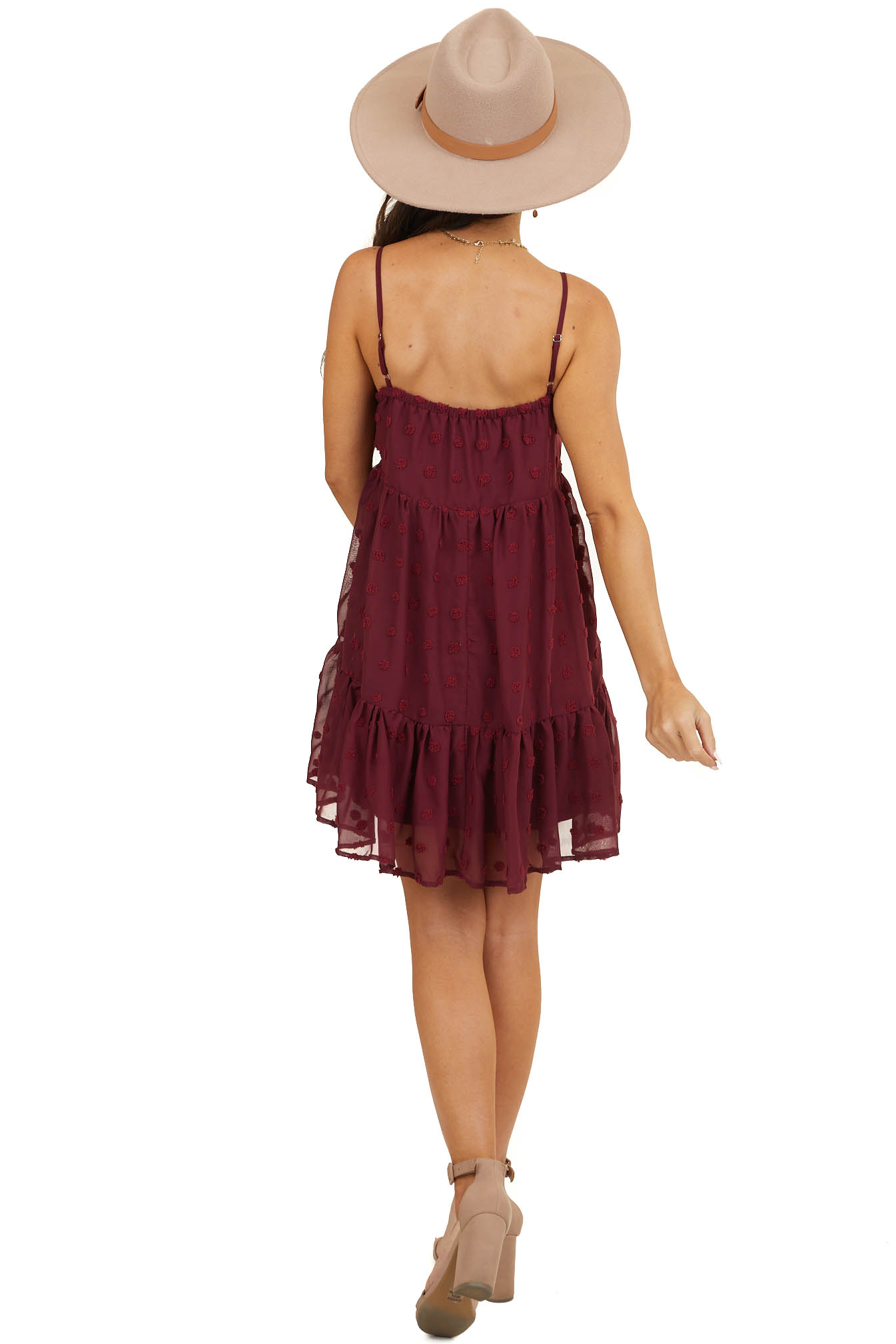 Wine Large Swiss Dot Spaghetti Strap Dress