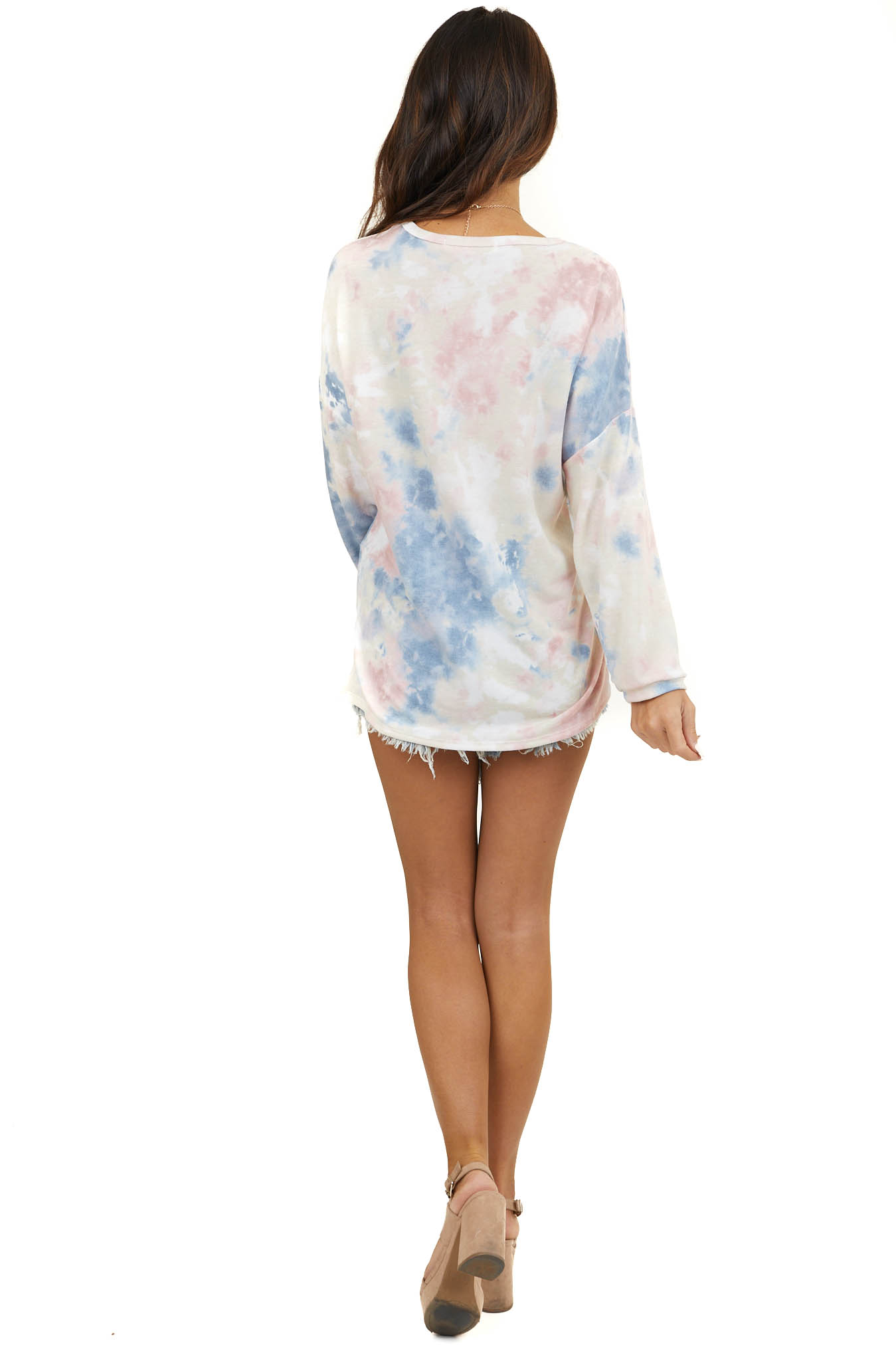 Dusty Blush Multicolor Long Sleeve Top with Rounded Neckline