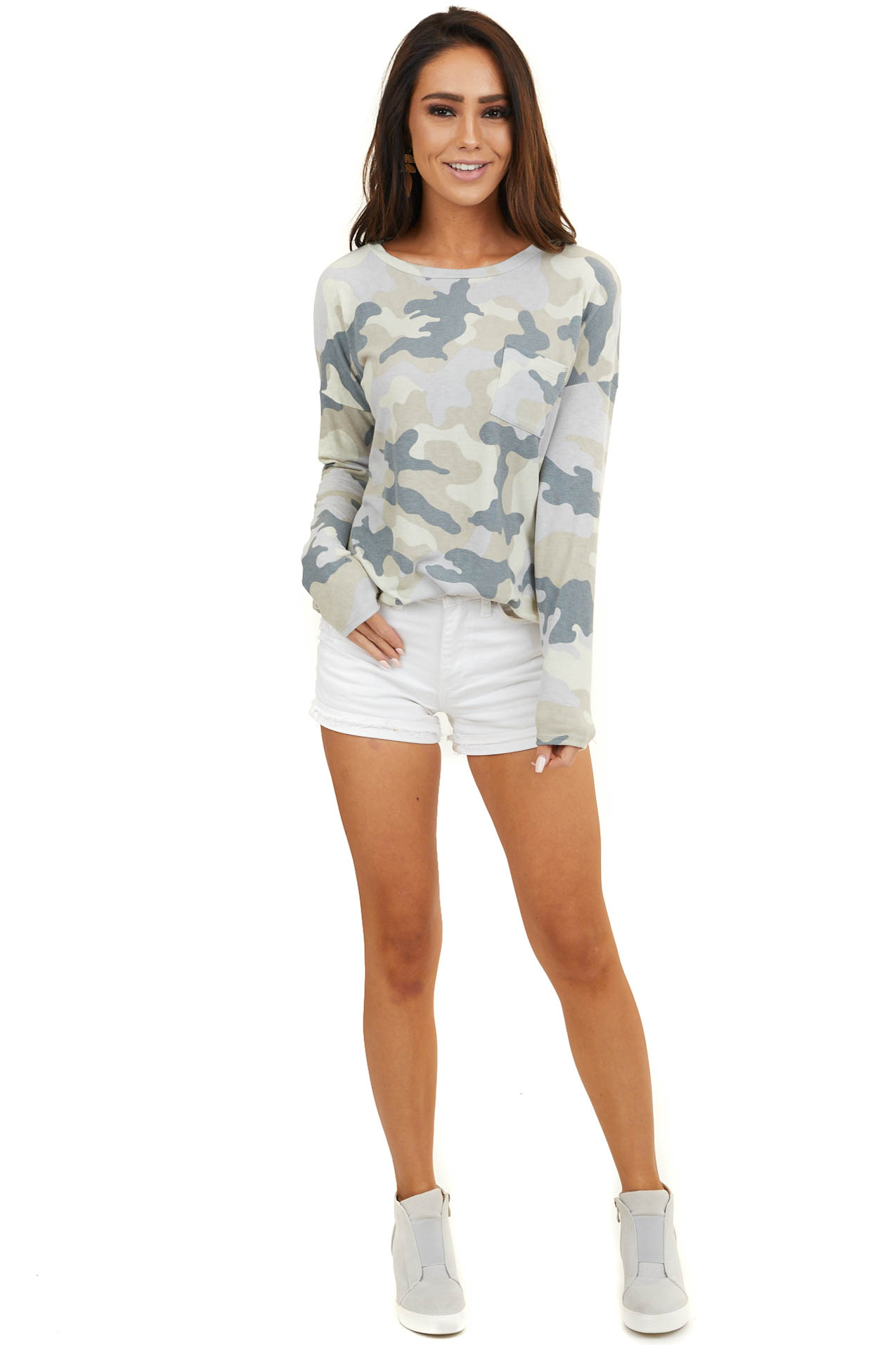 Tan Camo Long Sleeve Knit Top with Front Pocket Detail