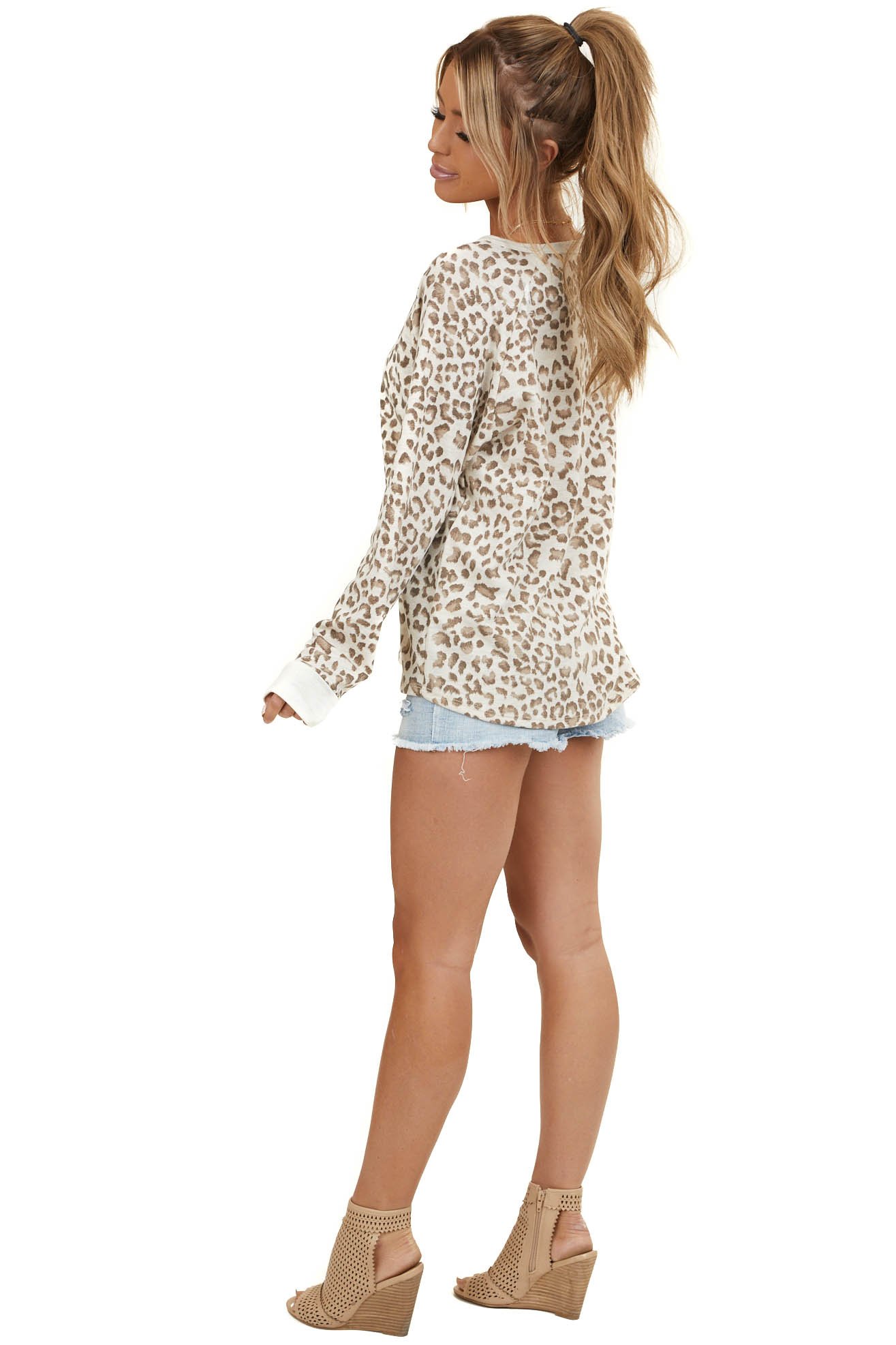 Cream Leopard Print Loungewear Knit Top with Long Sleeves