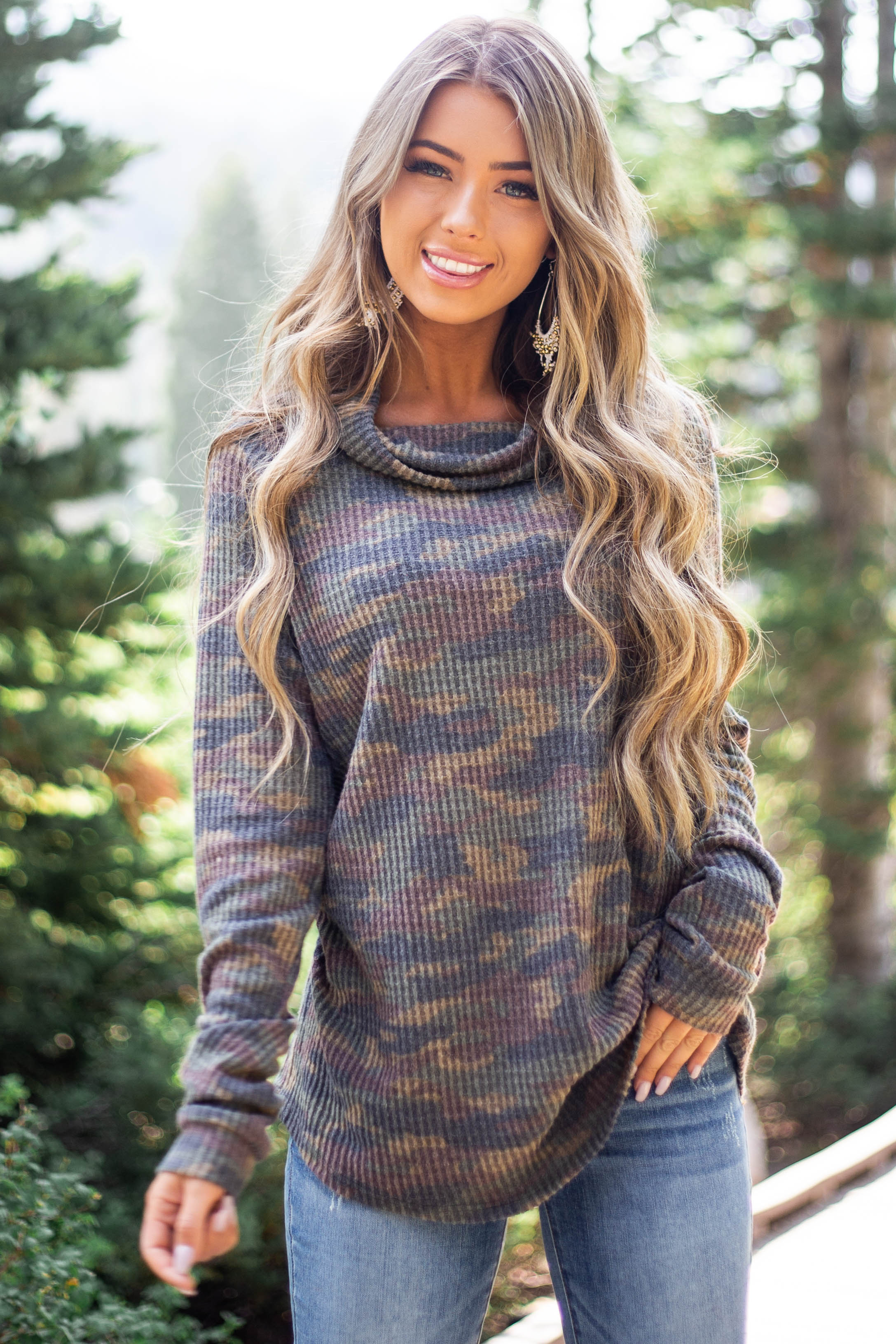 Olive Multicolor Camo Long Sleeve Waffle Knit Top
