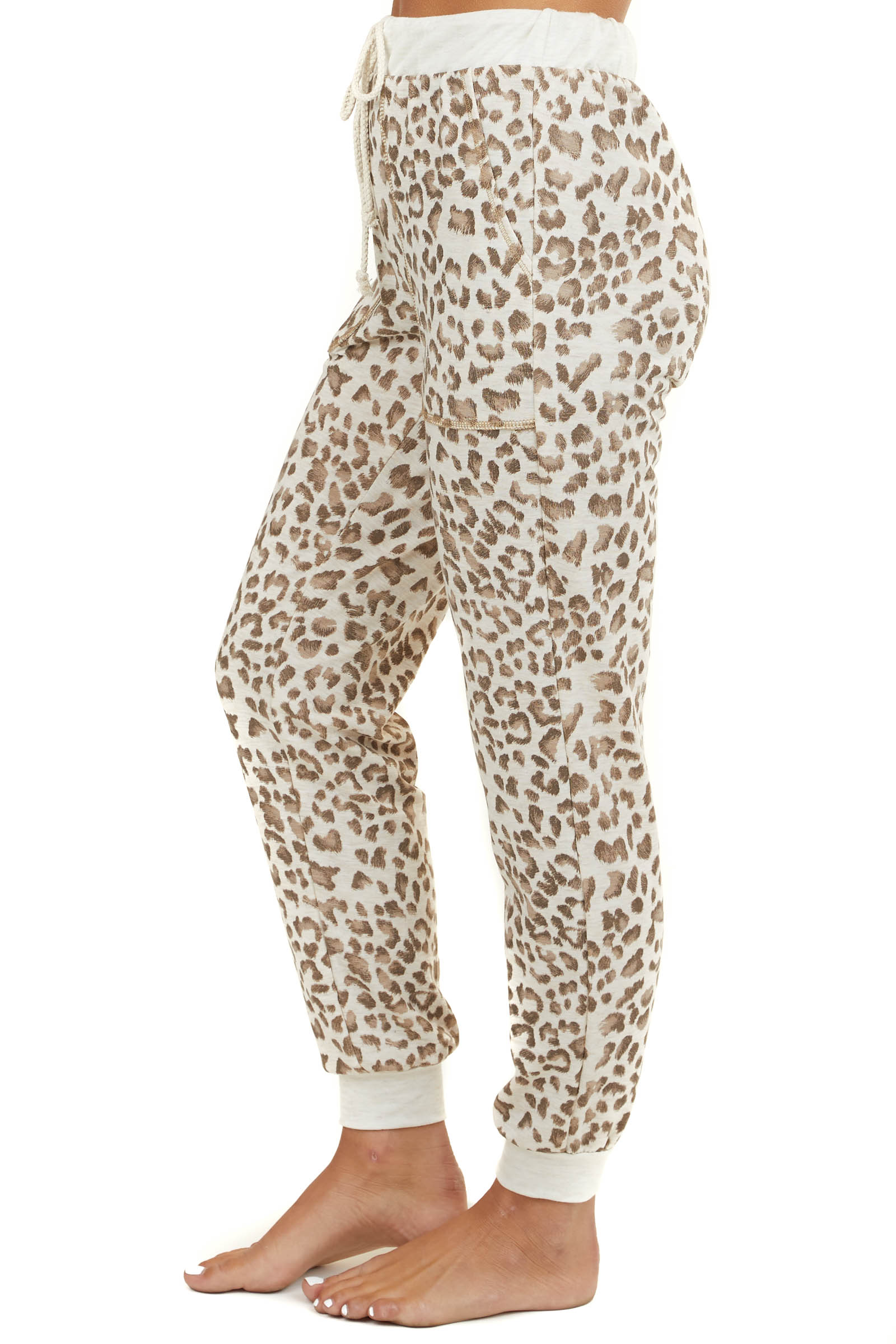 Cream Leopard Print Loungewear Knit Joggers with Side Pockets
