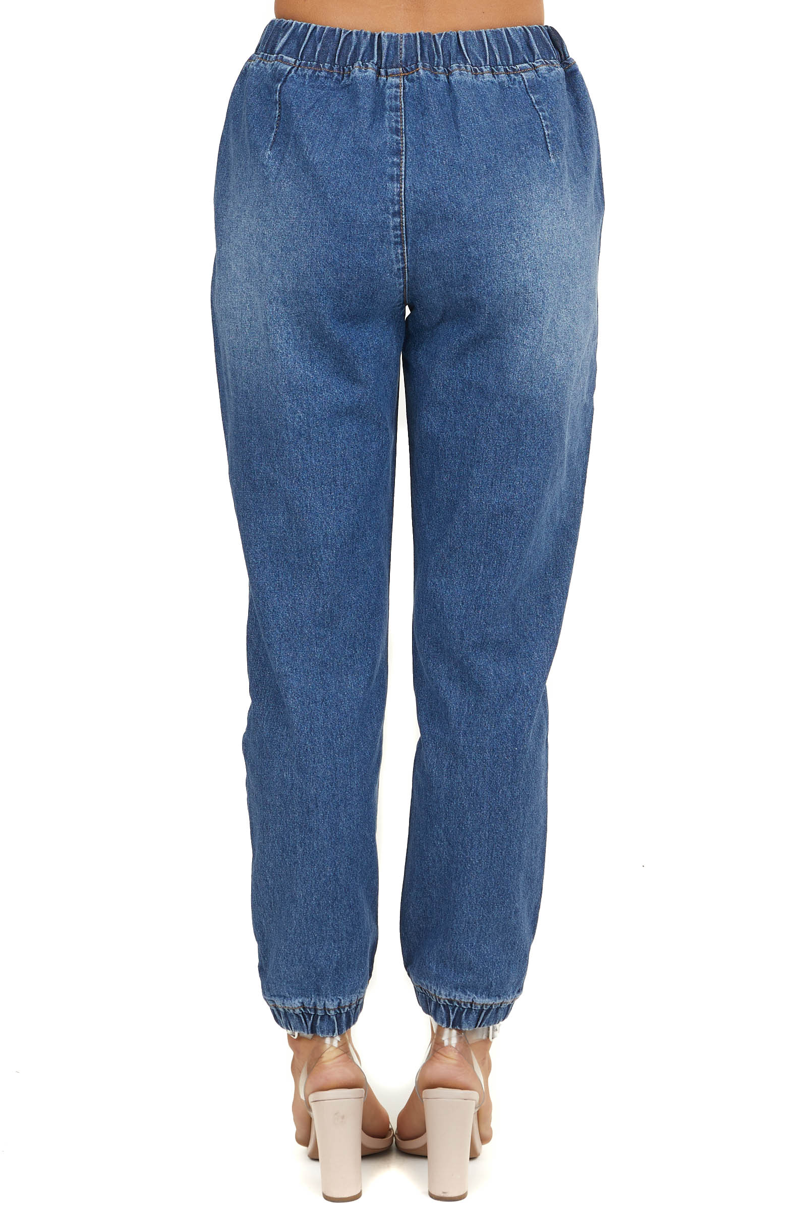Medium Wash Denim Jogger Pants with Distressed Details