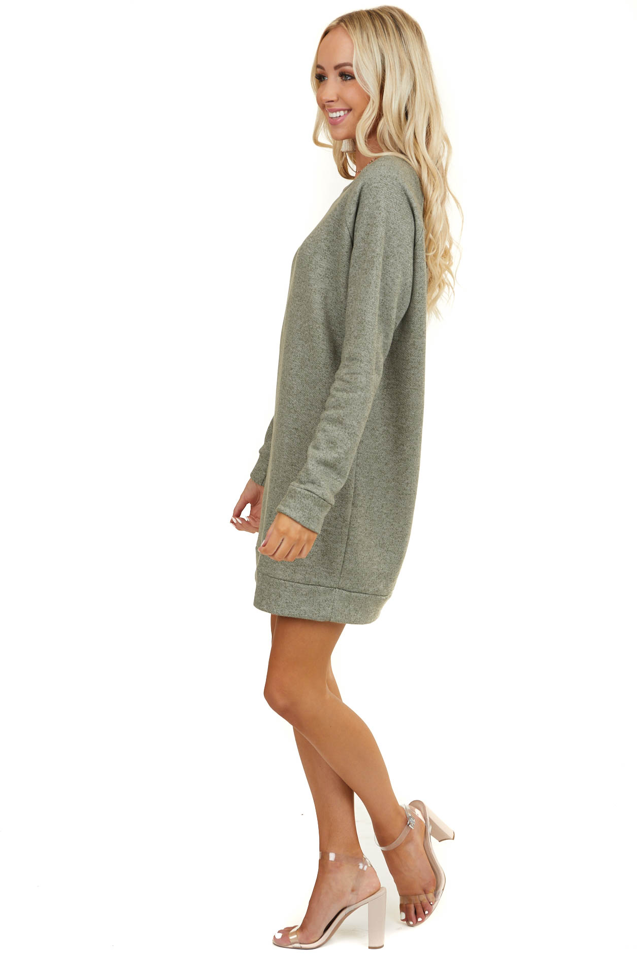 Olive Long Sleeve Knit Mini Sweater Dress with Rounded Neck