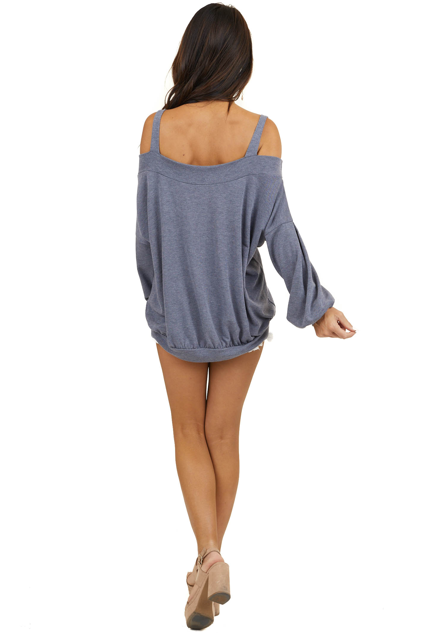 Dusty Navy Cold Shoulder Knit Top with Long Bubble Sleeves