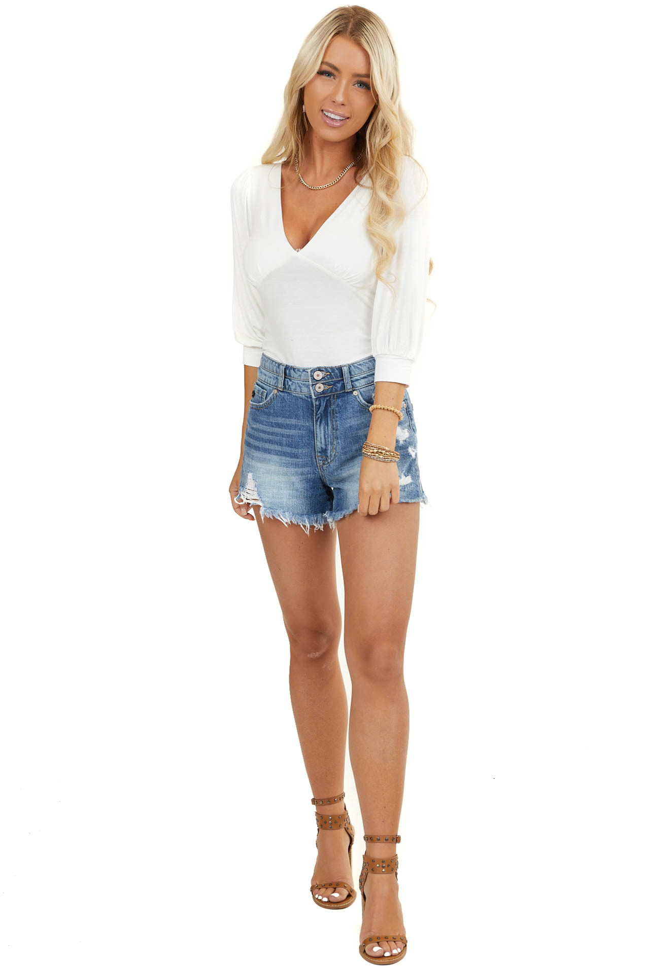 White V Neck Half Sleeve Bodysuit with Button Clasps
