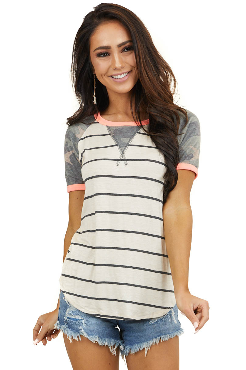 Cream Striped Top with Camo Sleeves and Neon Pink Details