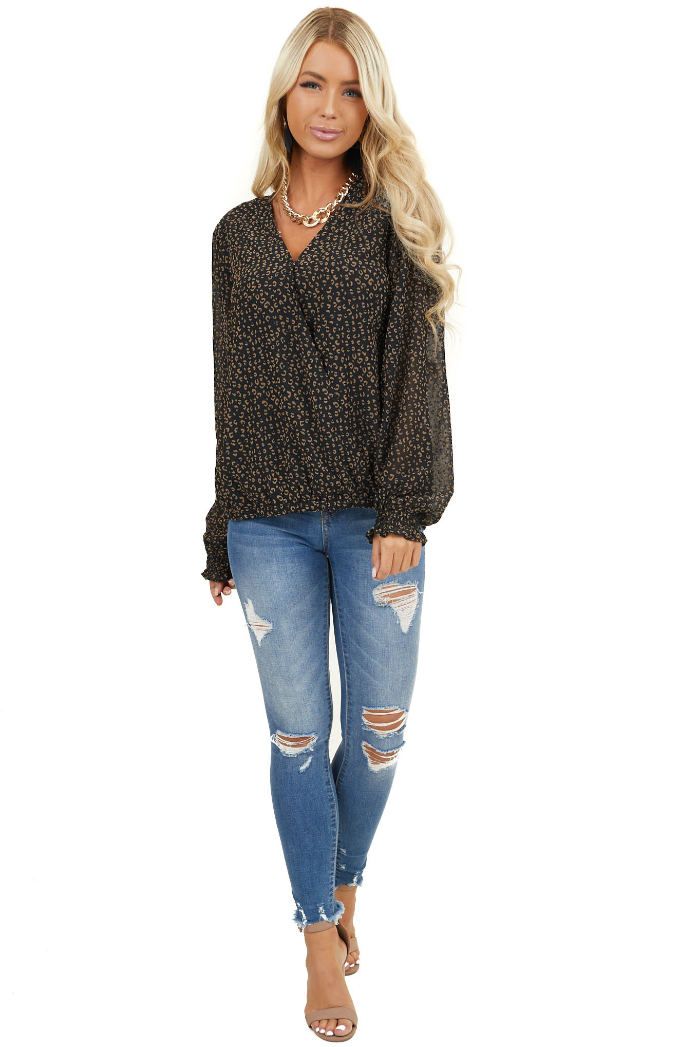 Black Leopard Print Surplice Woven Top with Long Sleeves