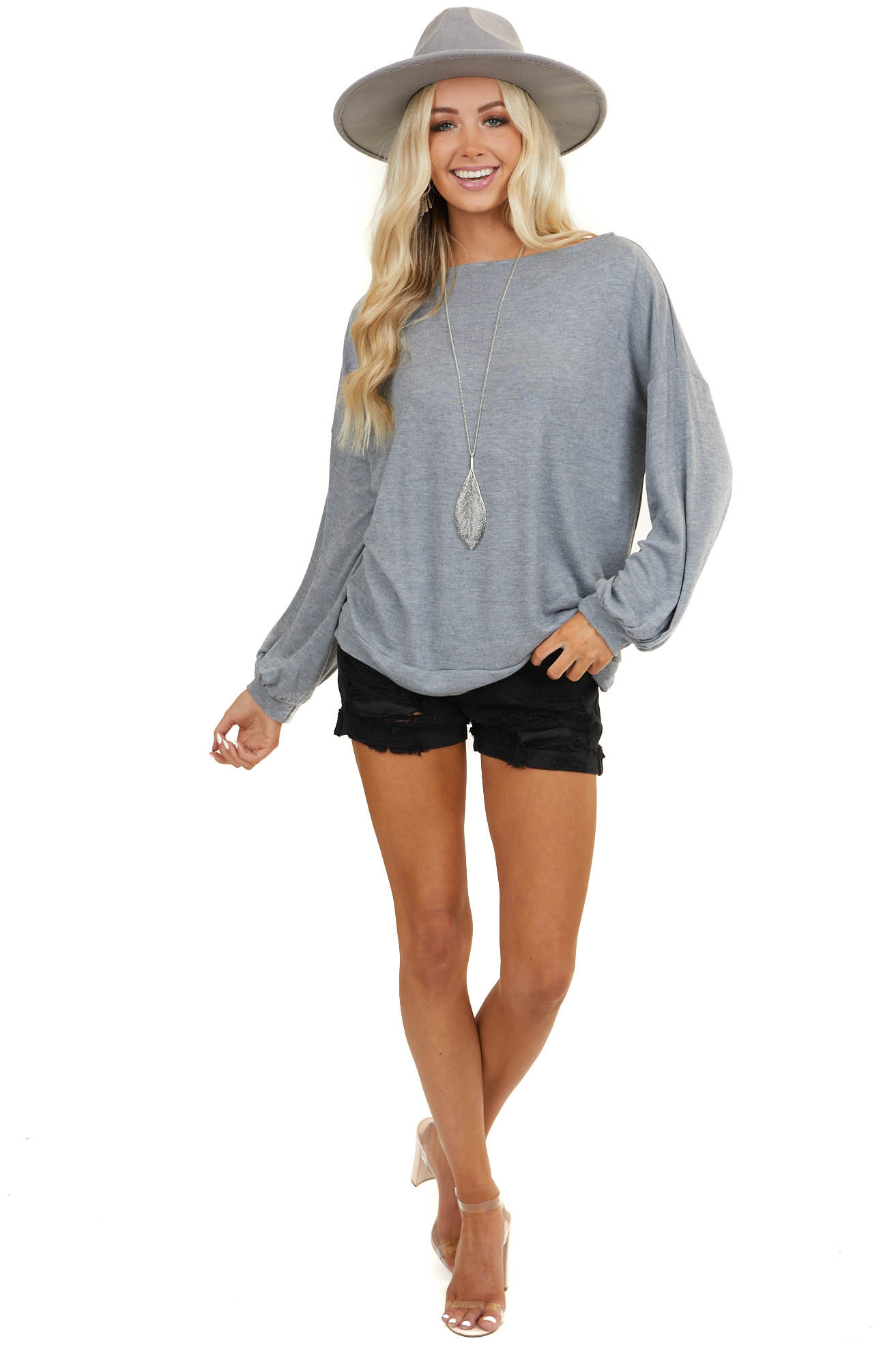 Stone Grey Off Shoulder Knit Top with Long Bubble Sleeves