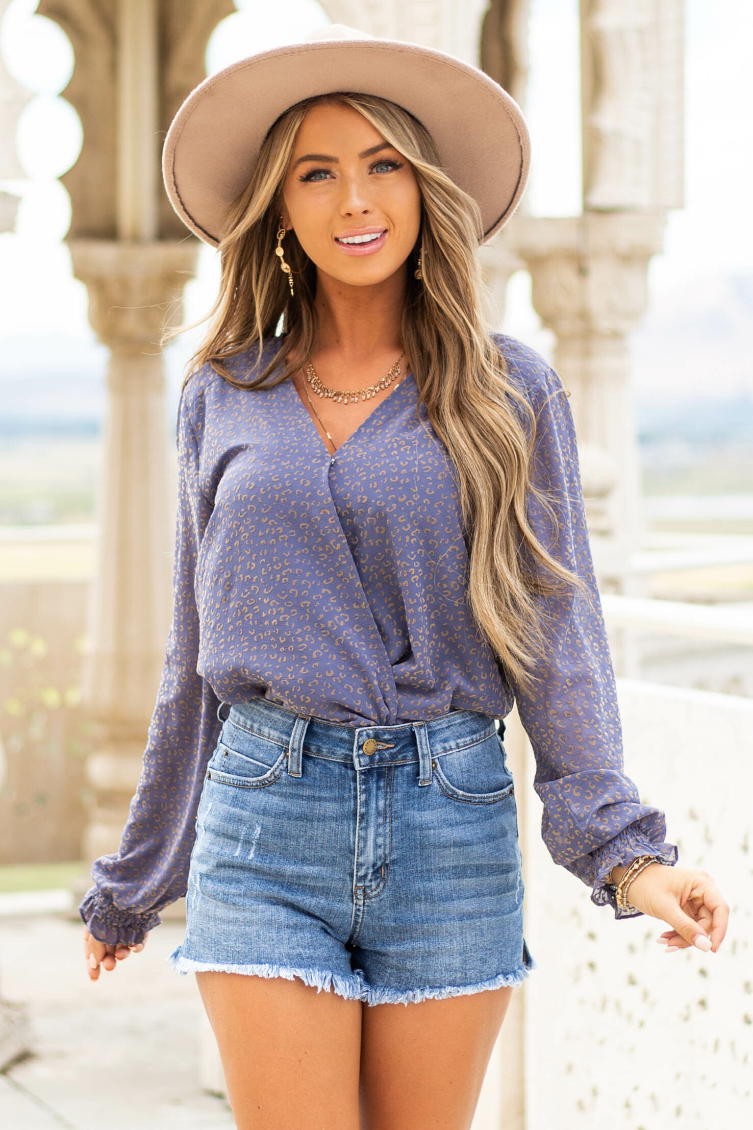 Blue Leopard Print Surplice Woven Top with Long Sleeves