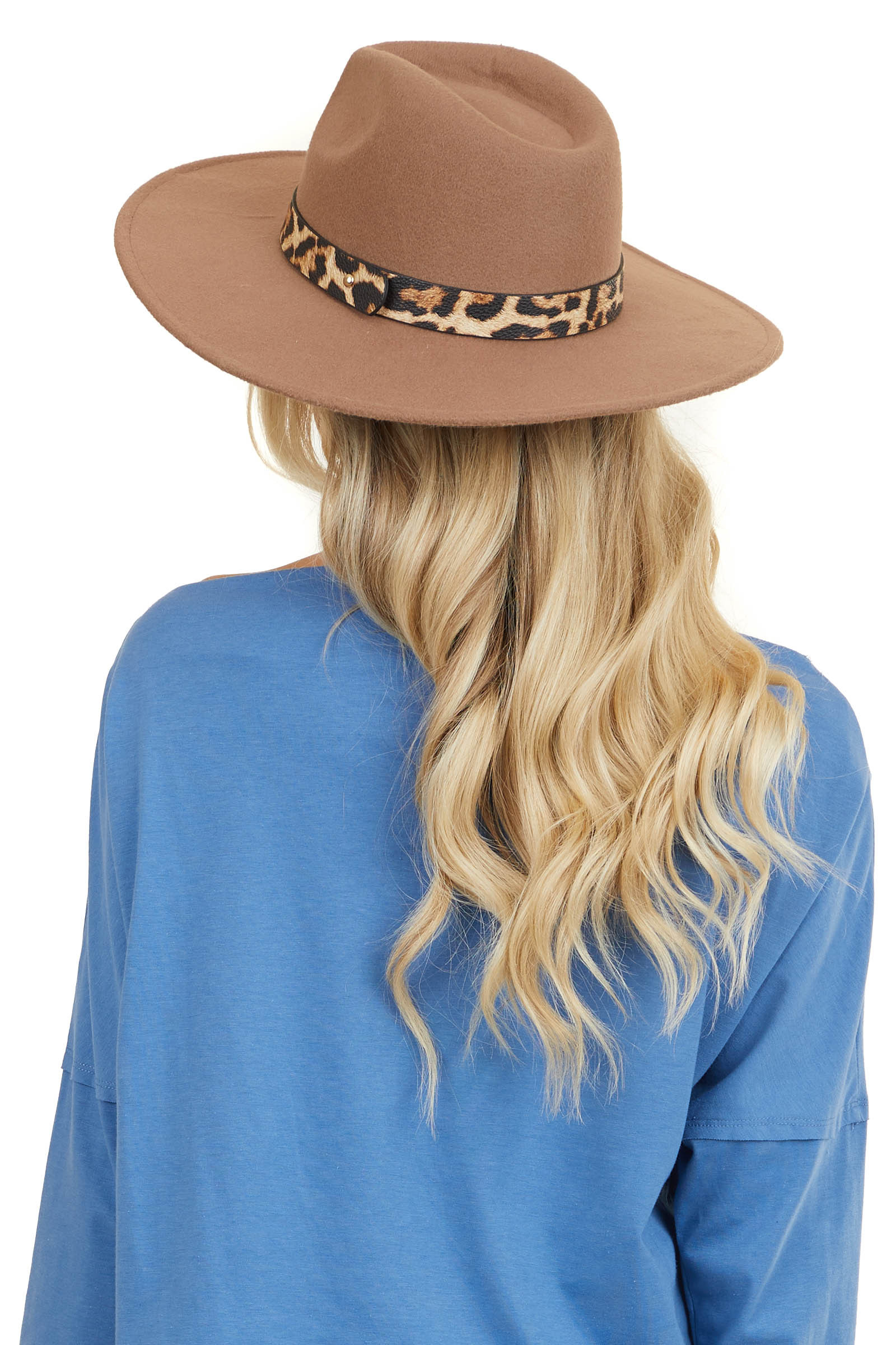 Cognac Faux Wool Wide Brim Hat with Leopard Print Trim