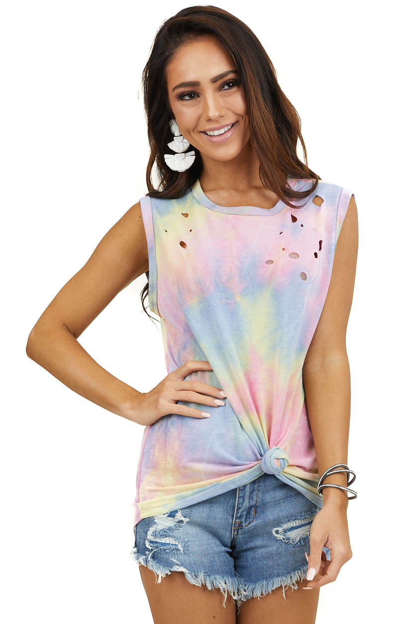 Multicolor Pastel Tie Dye Muscle Tank with Laser Cut Holes