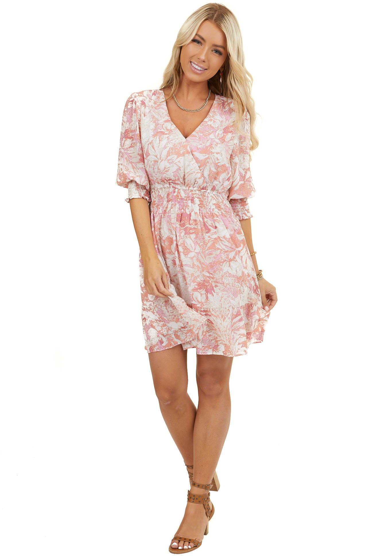 Coral Floral Print Surplice Mini Dress with Smocked Details