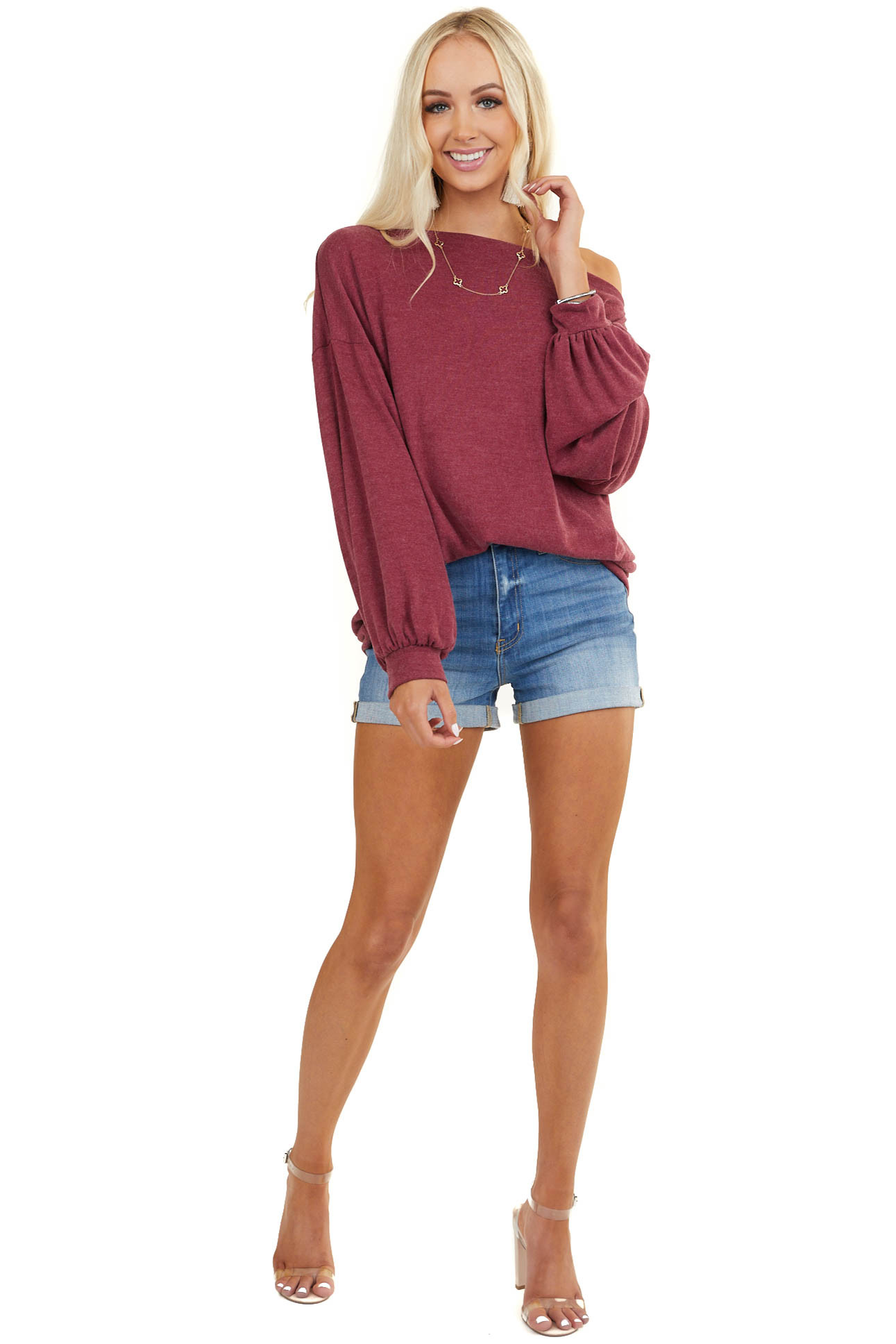 Faded Burgundy Off Shoulder Top with Long Bubble Sleeves