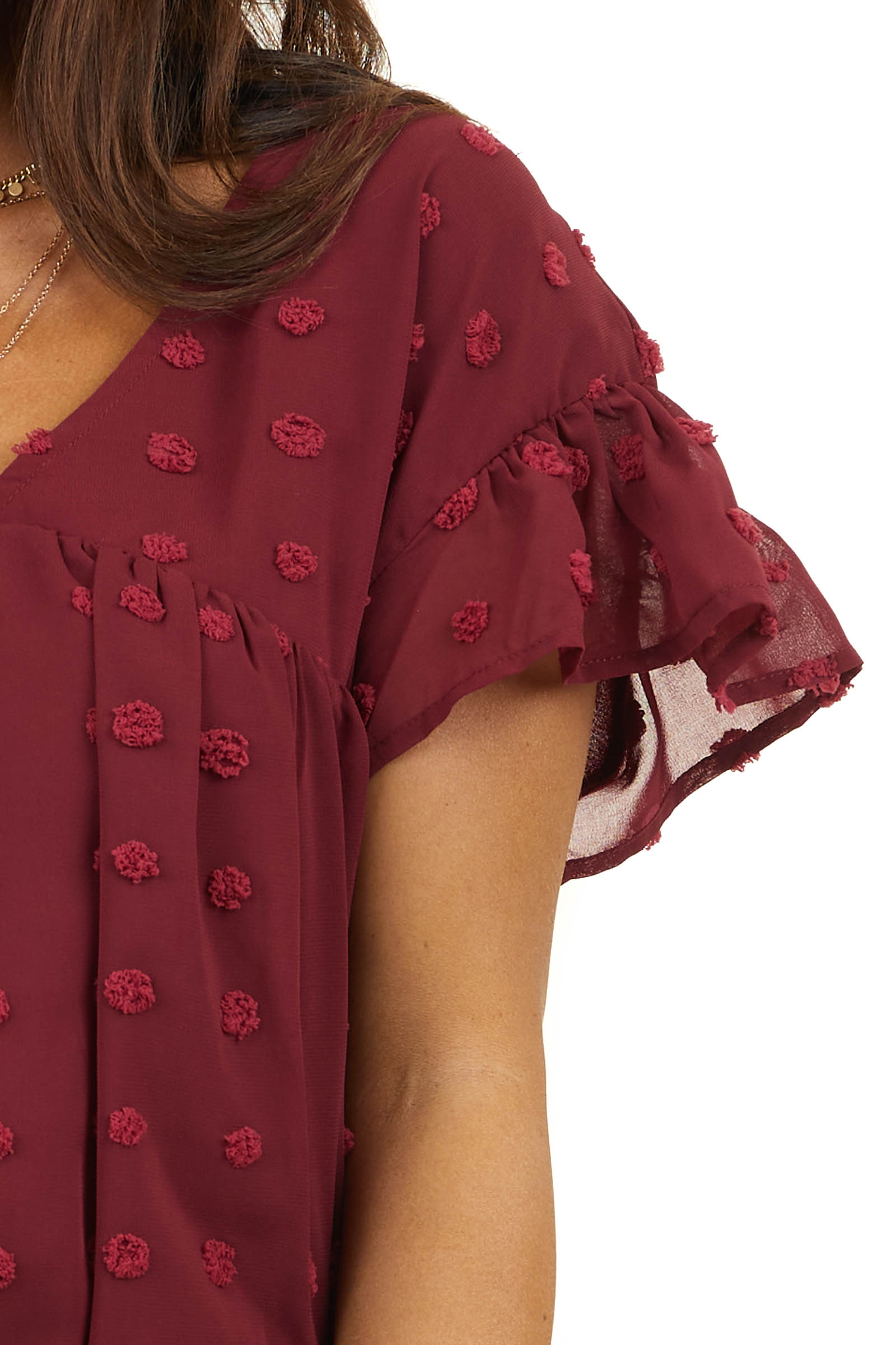 Wine Large Swiss Dot Babydoll Woven Top with Short Sleeves