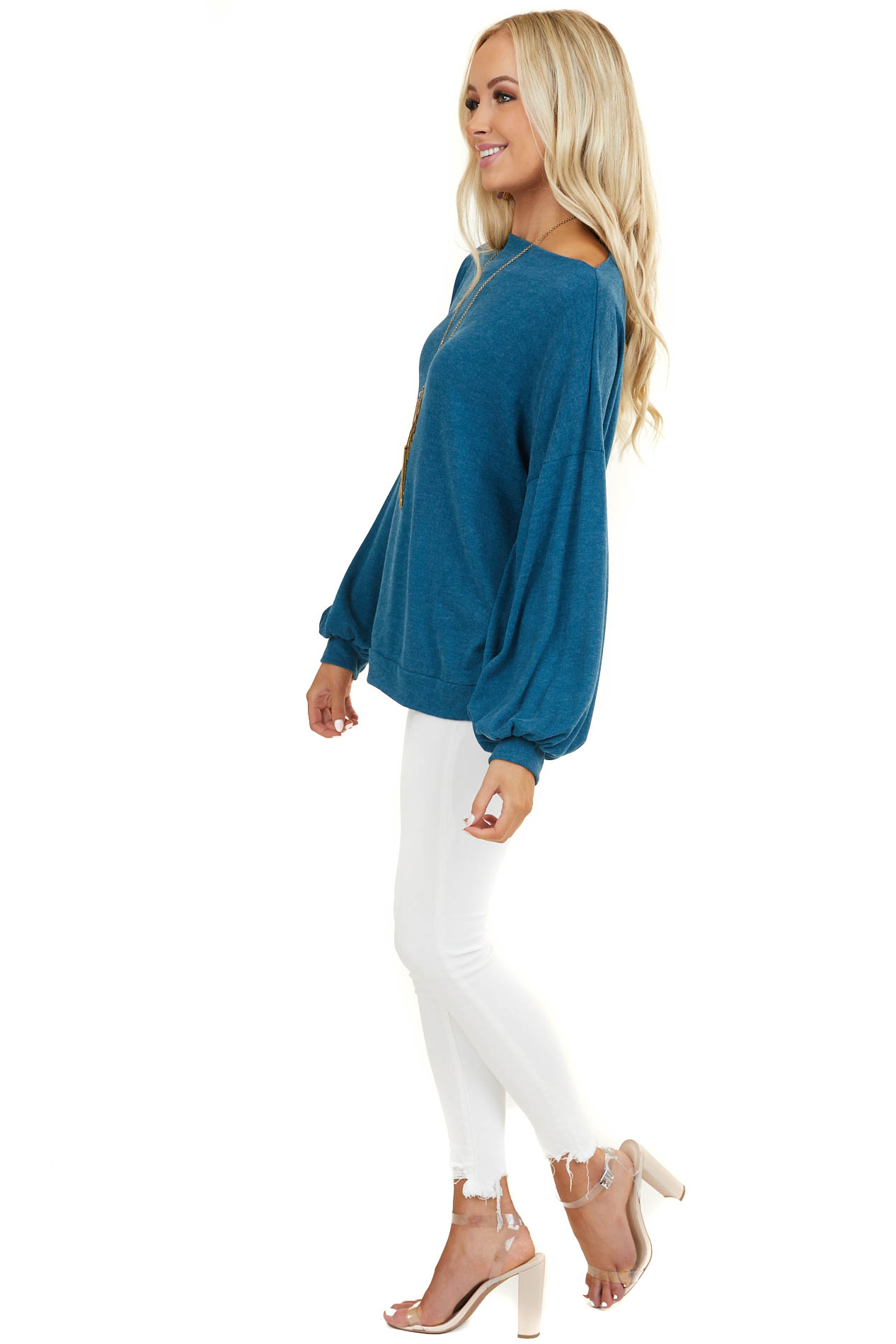 Dark Teal Off Shoulder Top with Long Bubble Sleeves