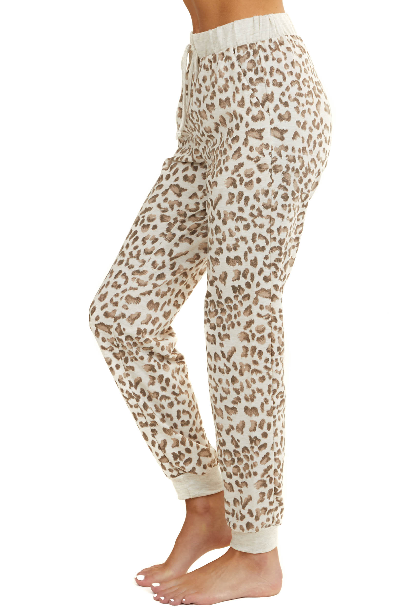 Cream Leopard Print Jogger Sweatpants with Pockets